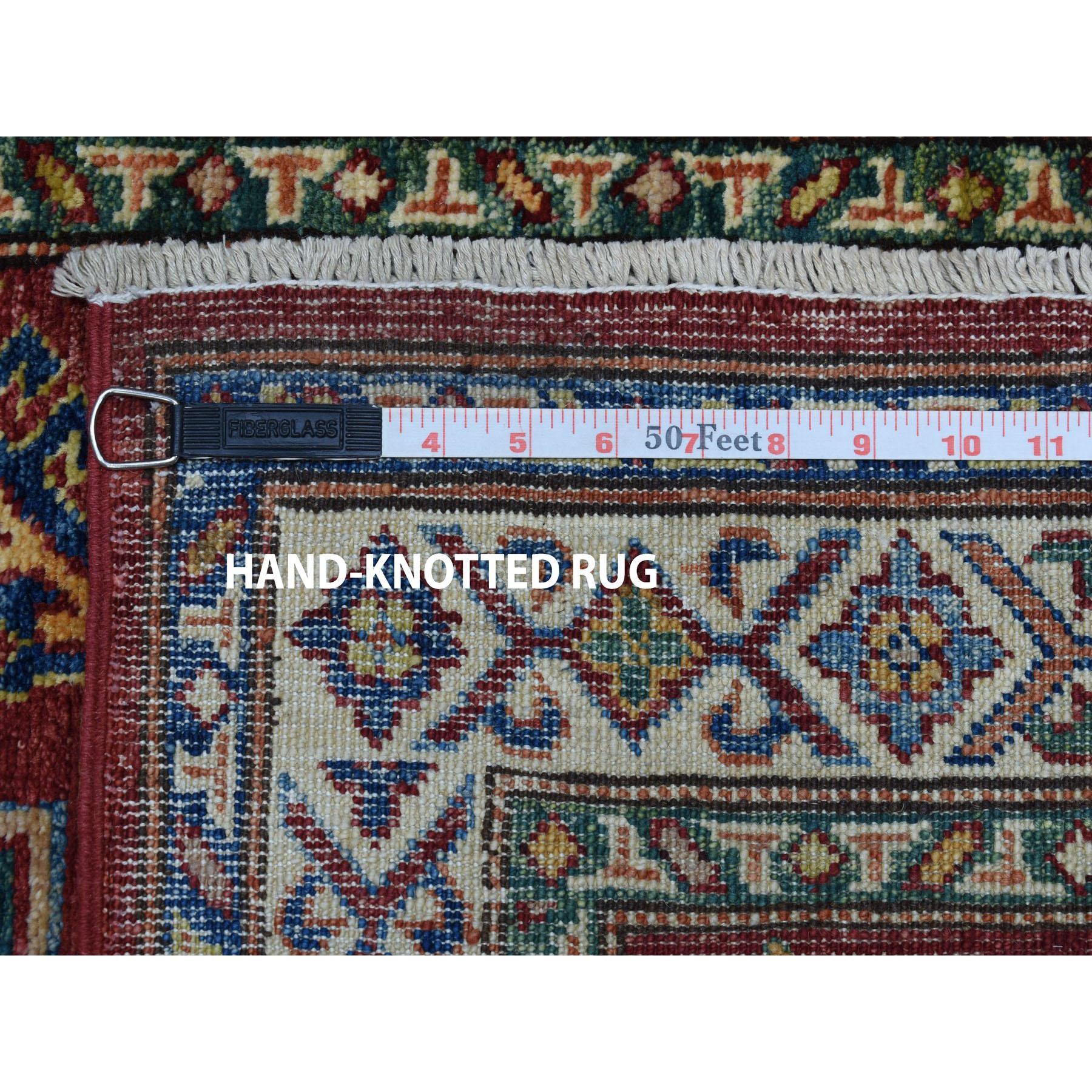 "2'8""x20' Red Super Kazak Geometric Design XL Runner Pure Wool Hand-Knotted Oriental Rug"