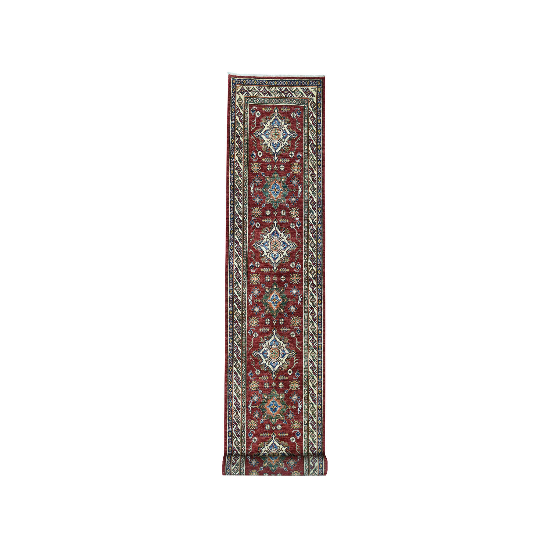 "3'4""x19' Red Super Kazak Geometric Design Pure Wool XL Runner Hand-Knotted Oriental Rug"
