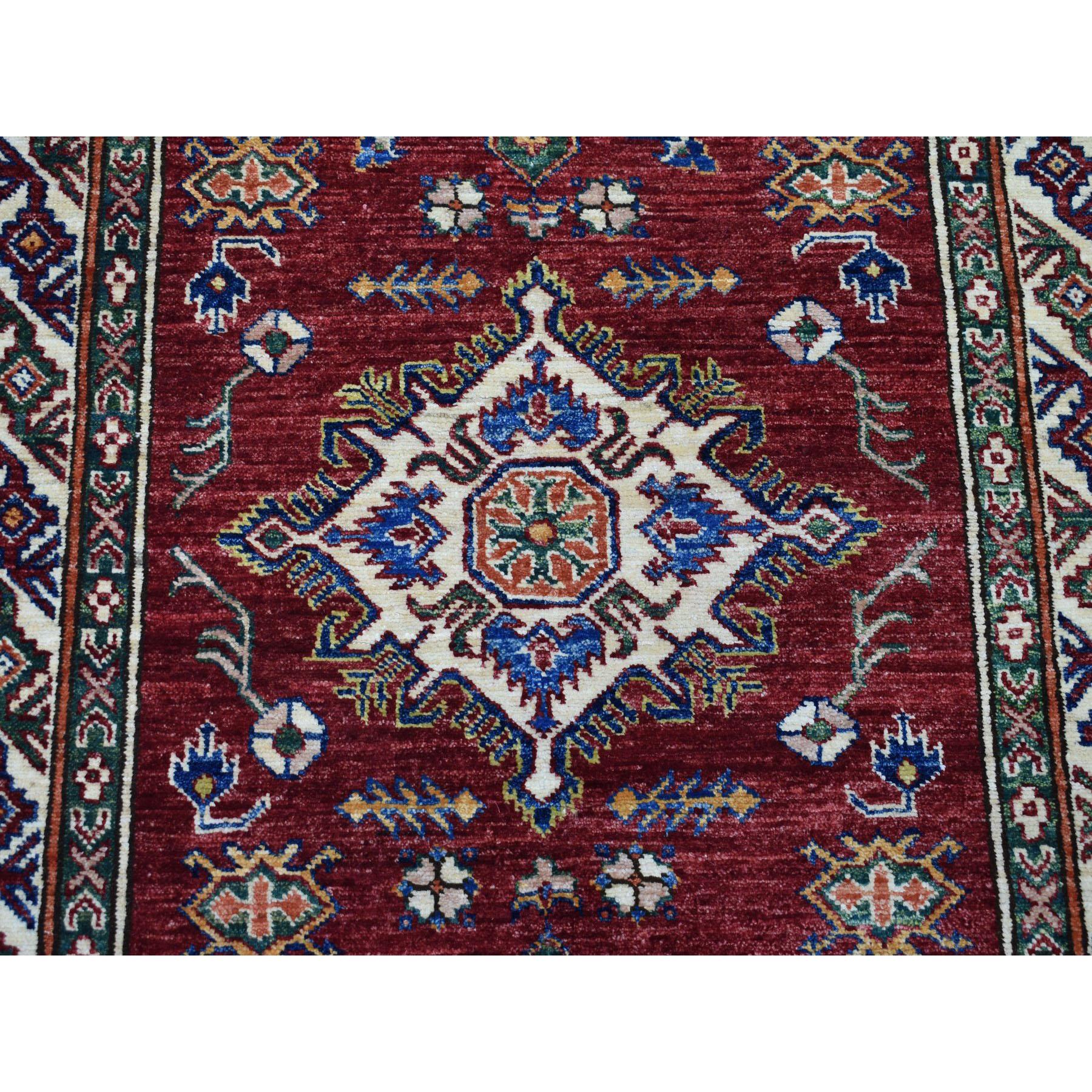 "3'4""x19' Red Super Kazak Geometric Design Pure Wool XL Runner Hand-Knotted Oriental Rug"
