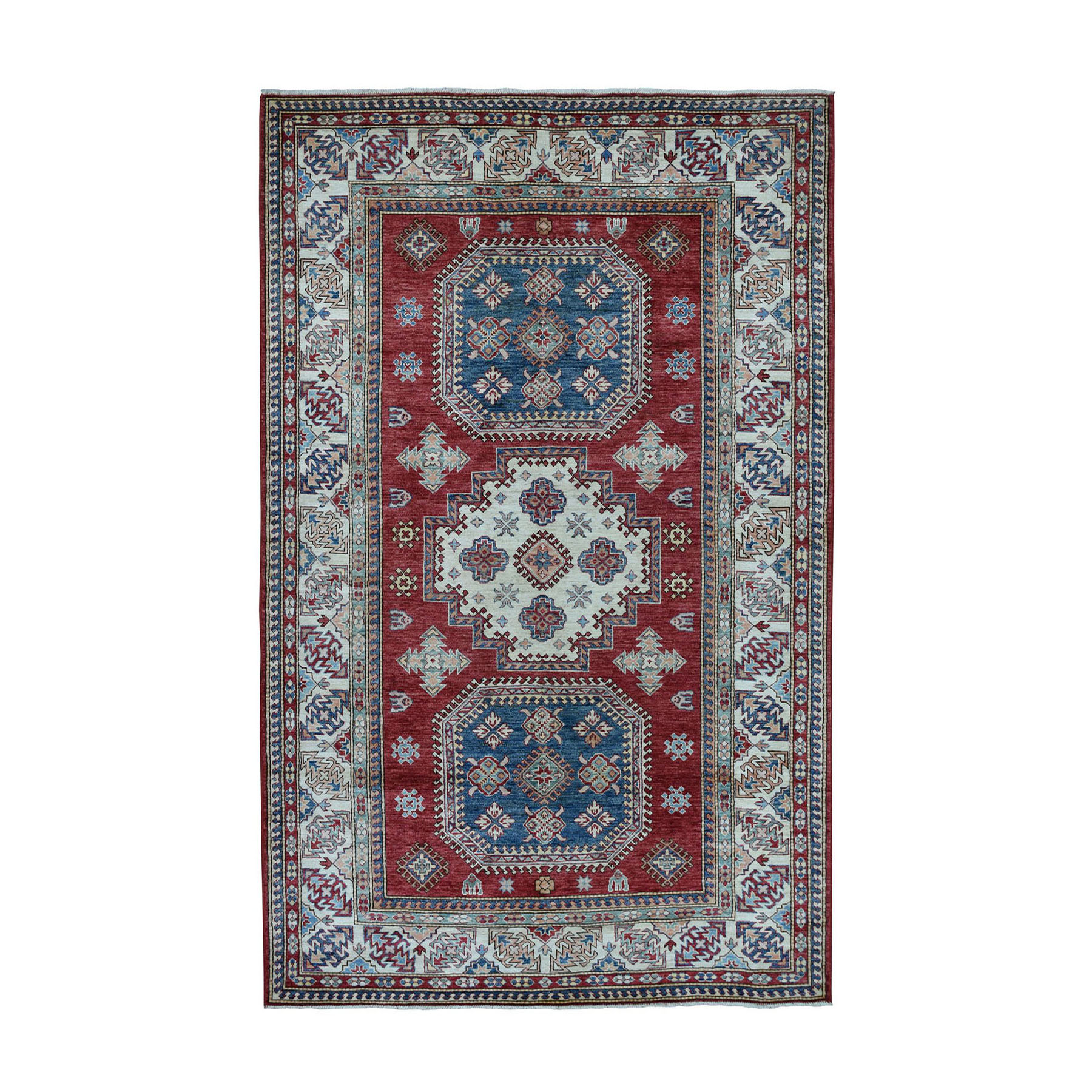 "5'9""x8'9"" Red Super Kazak Pure Wool Geometric Design Hand-Knotted Oriental Rug"