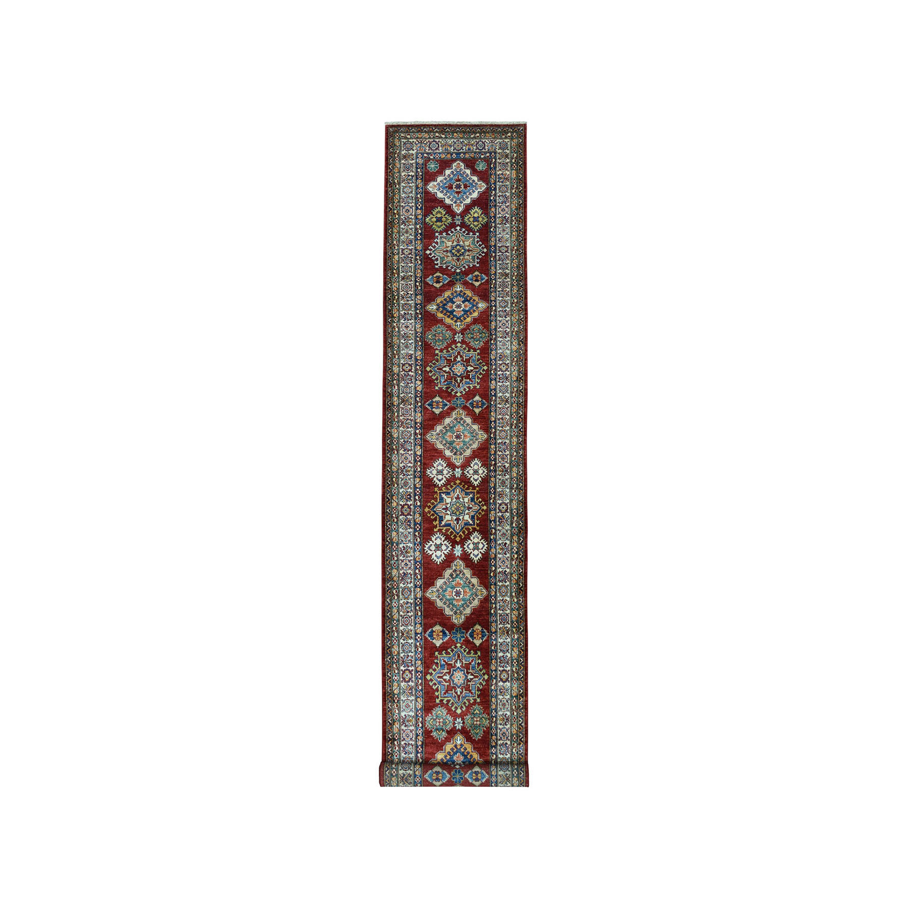 "2'10""x13'9"" Red Super Kazak Pure Wool Geometric Design Hand-Knotted Runner Oriental Rug"
