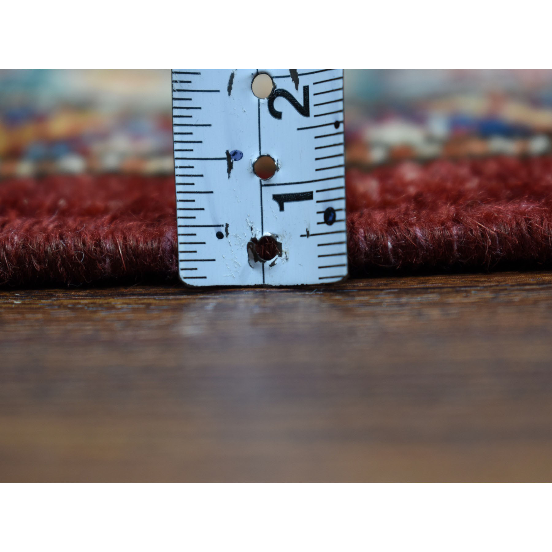 2-10 x13-9  Red Super Kazak Pure Wool Geometric Design Hand-Knotted Runner Oriental Rug