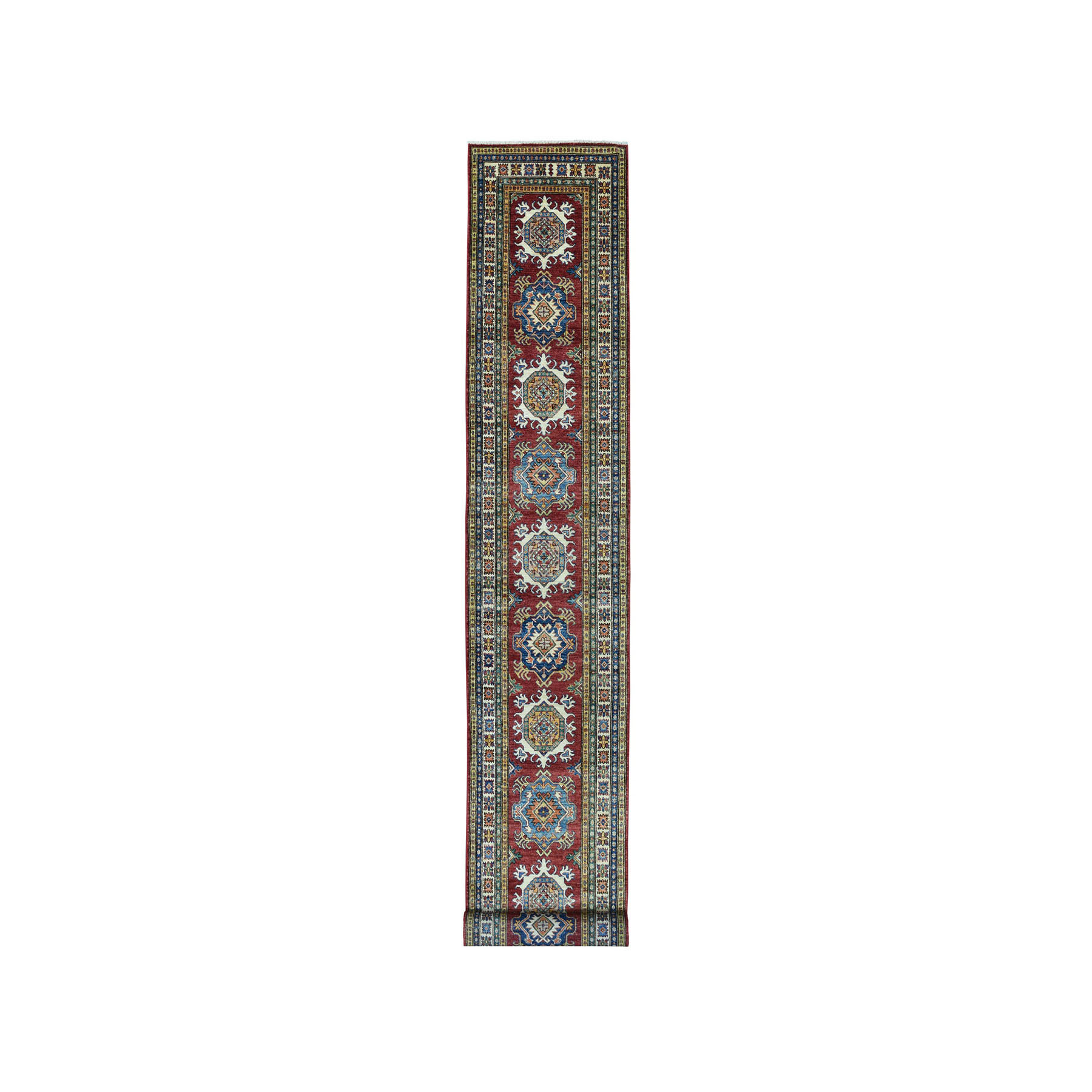 "2'8""x19'5"" Red Super Kazak Pure Wool Geometric Design Hand-Knotted XL Runner Oriental Rug"