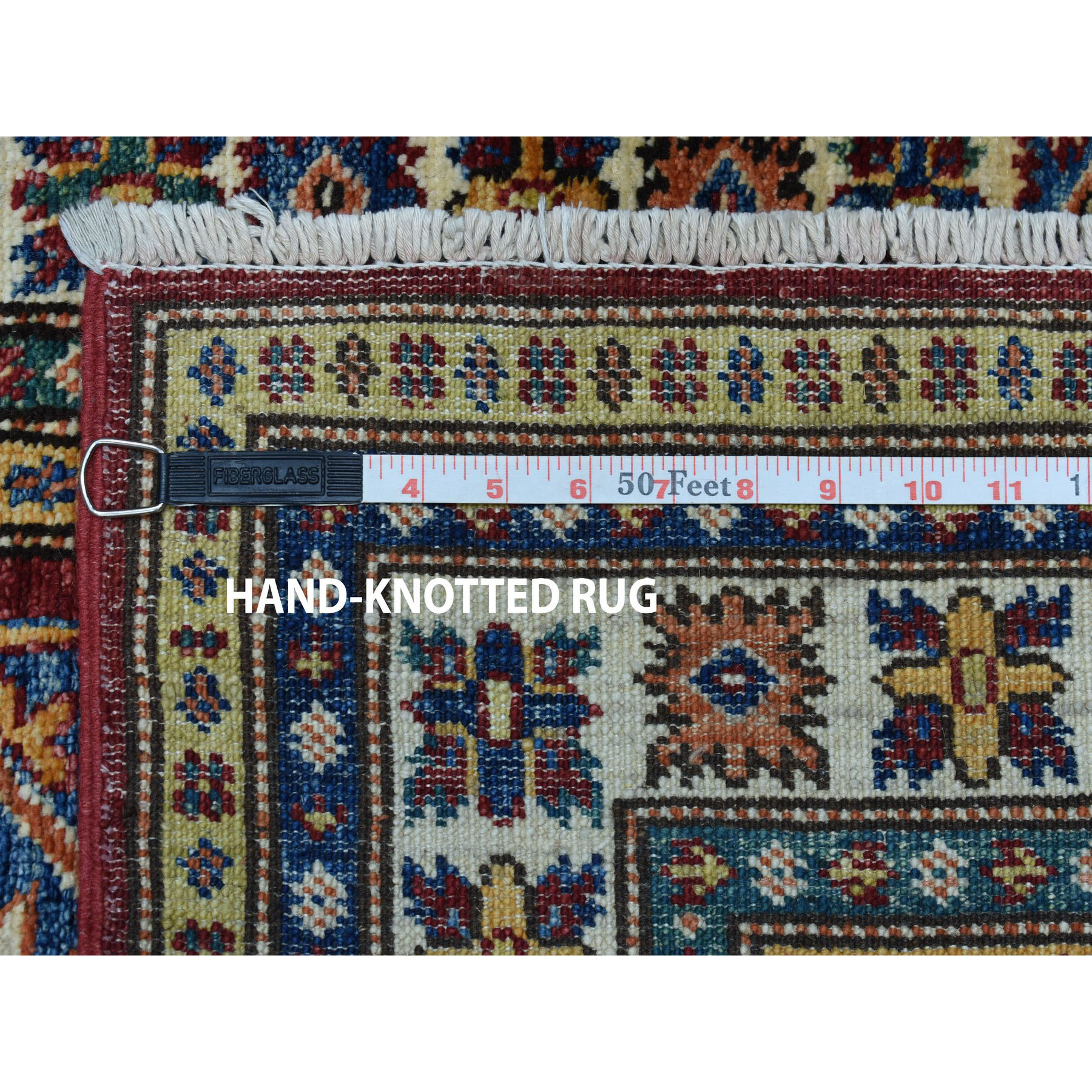 2-8 x19-5  Red Super Kazak Pure Wool Geometric Design Hand-Knotted XL Runner Oriental Rug
