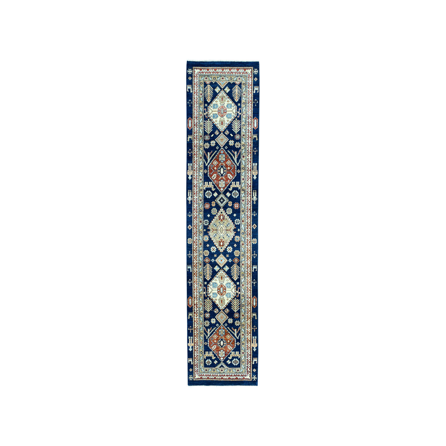 "2'10""X10'5"" Navy Northwest Pictorial Pure Wool Peshawar Hand-Knotted Oriental Runner Rug moae0e0a"