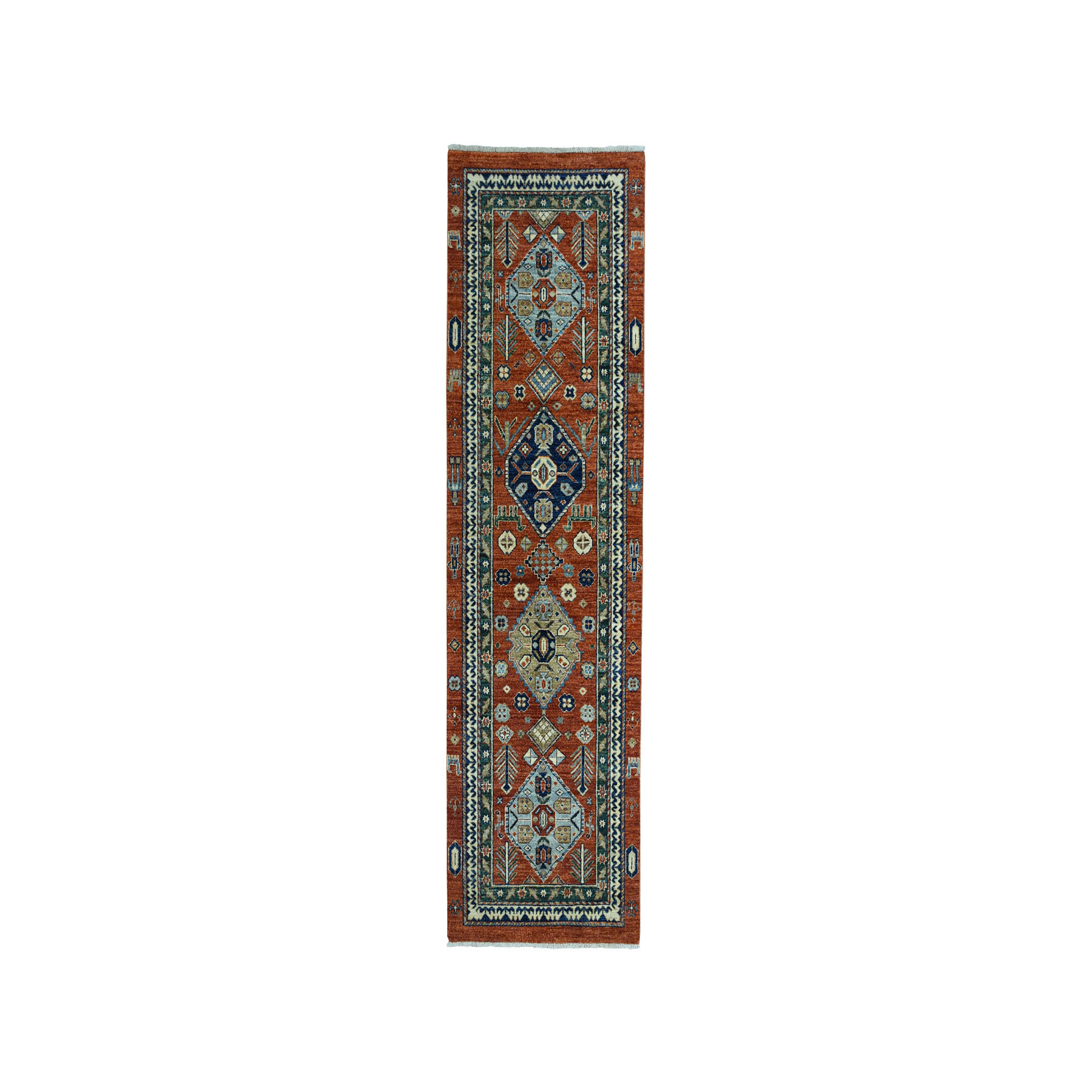 "2'7""x8' Orange Northwest Pictorial Pure Wool Peshawar Hand-Knotted Oriental Runner Rug"