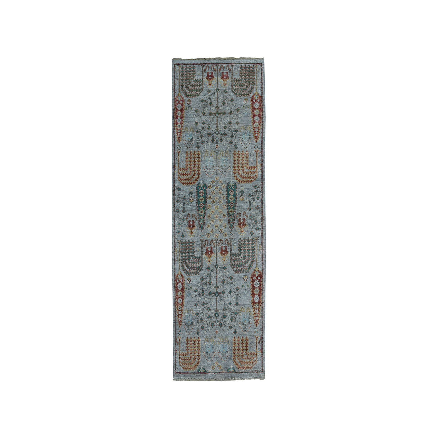 "2'7""X6'1"" Gray Peshawar Willow And Cypress Tree Design Hand-Knotted Oriental Runner Rug moae0e09"