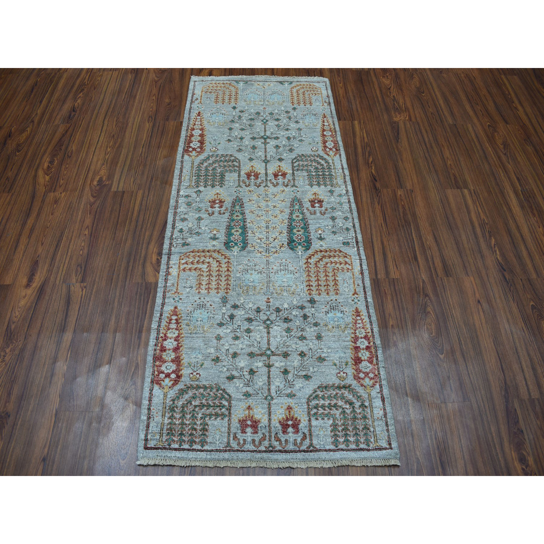2-7 x6-1  Gray Peshawar Willow And Cypress Tree Design Hand-Knotted Oriental Runner Rug