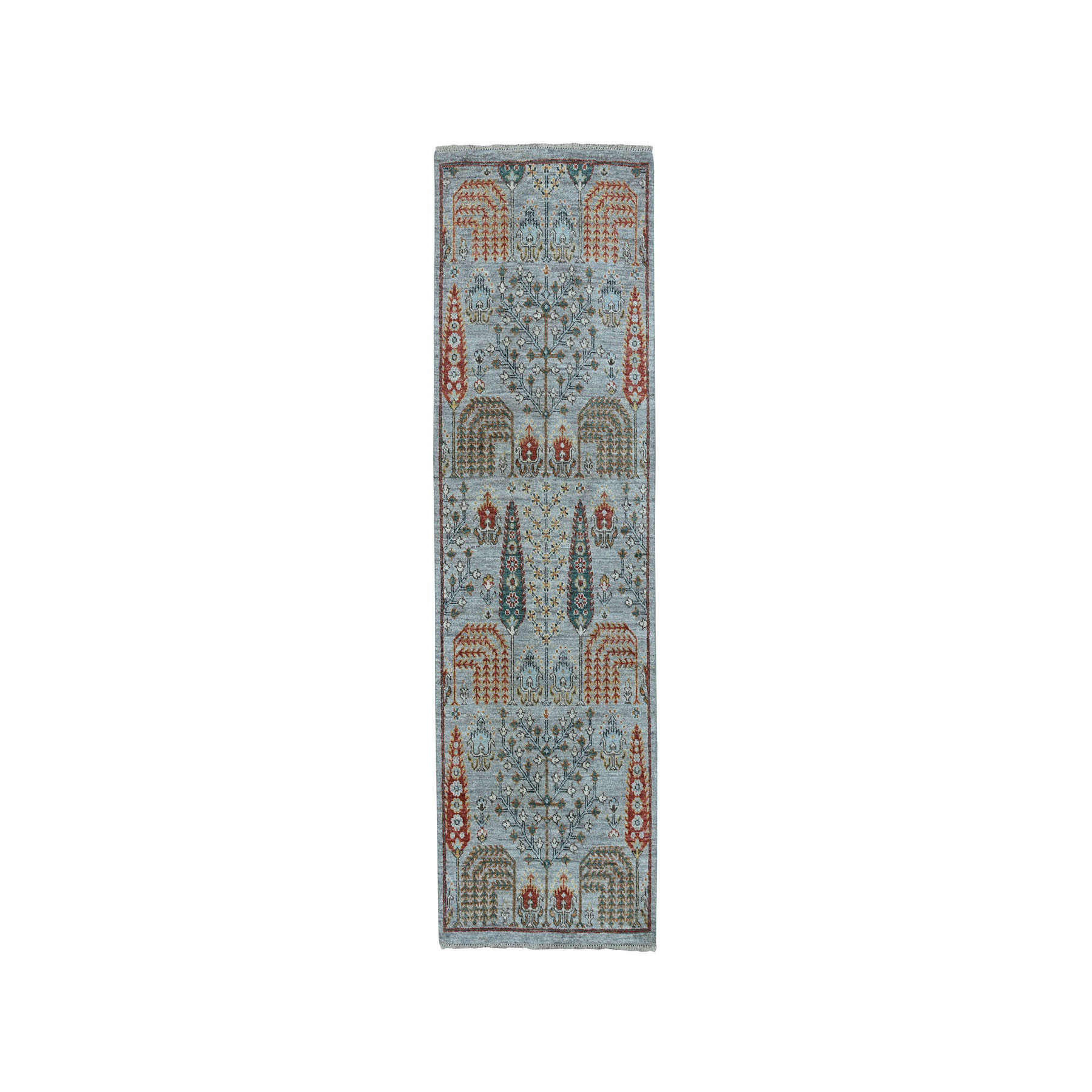 "2'6""x6'2"" Gray Peshawar Willow And Cypress Tree Design Hand-Knotted Oriental Runner Rug"