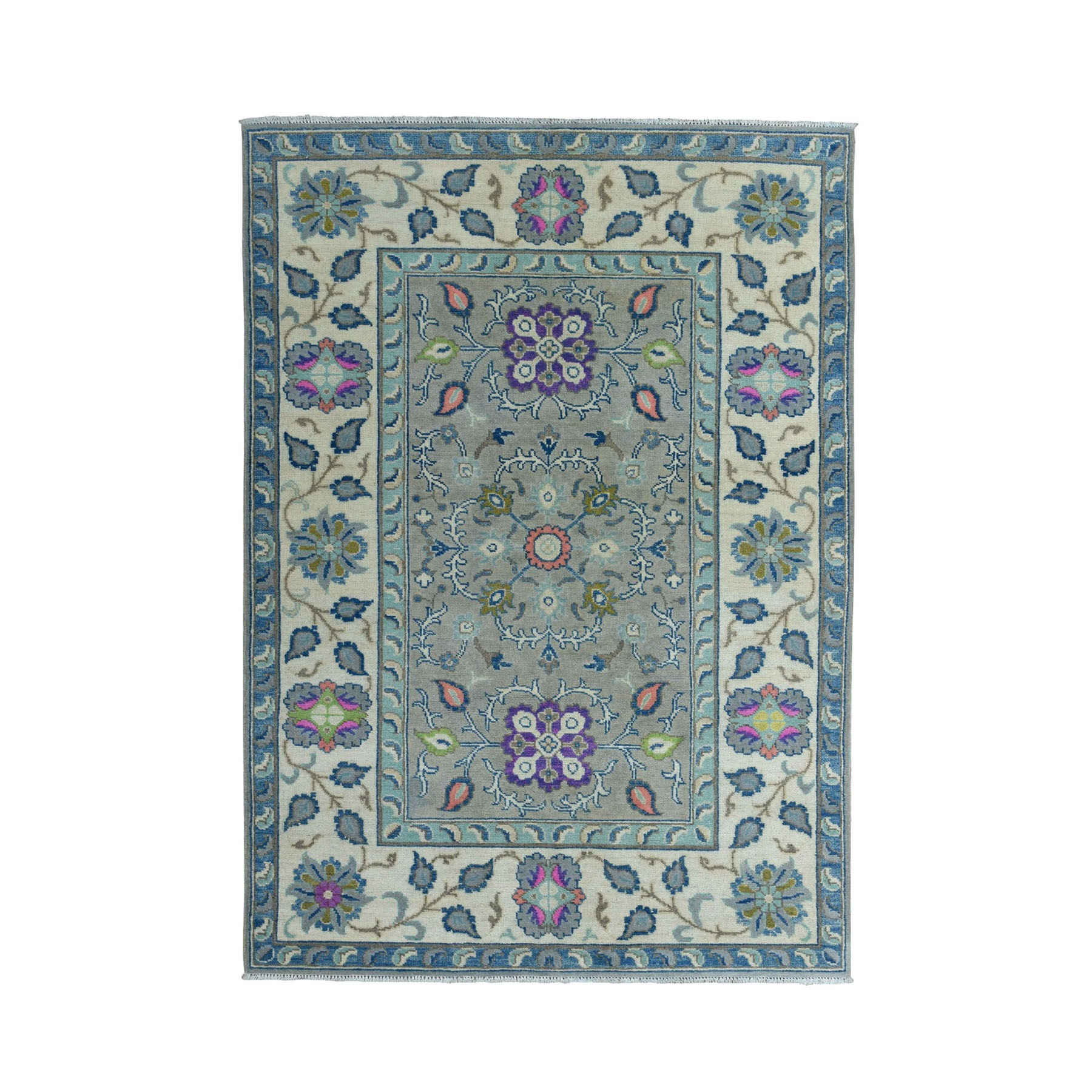 "4'1""X6' Colorful Gray Fusion Kazak Pure Wool Geometric Design Hand Knotted Oriental Rug moae0ea7"