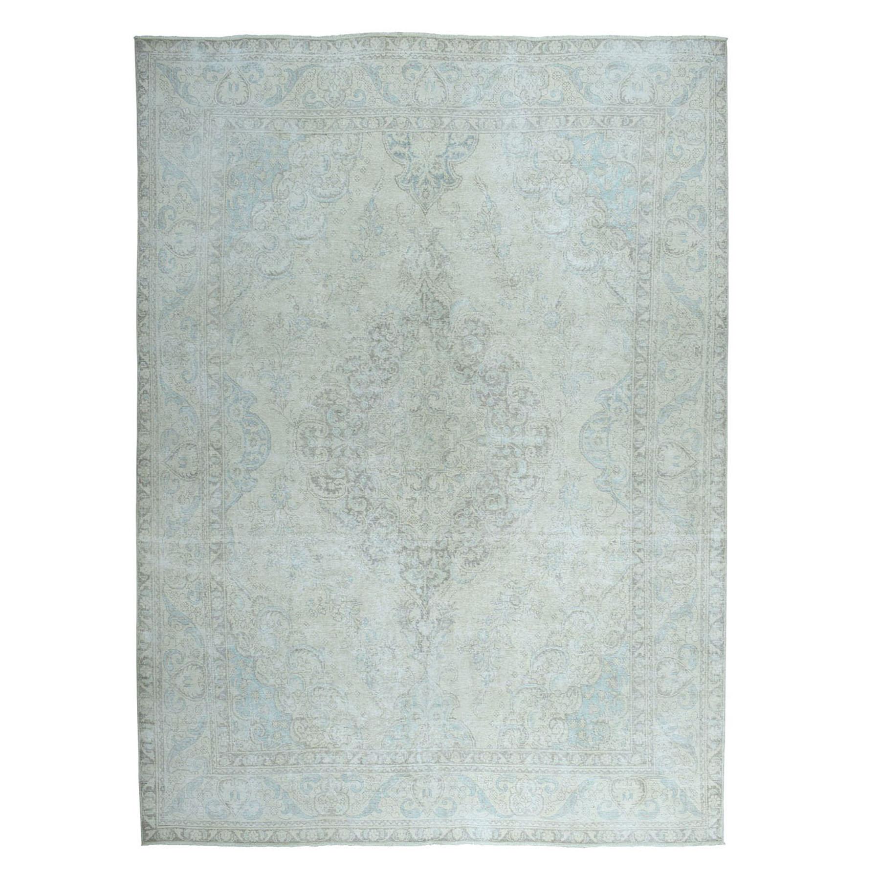 """9'7""""x12'4"""" Vintage White Wash Tabriz Worn Wool Hand-Knotted Oriental Rug"""