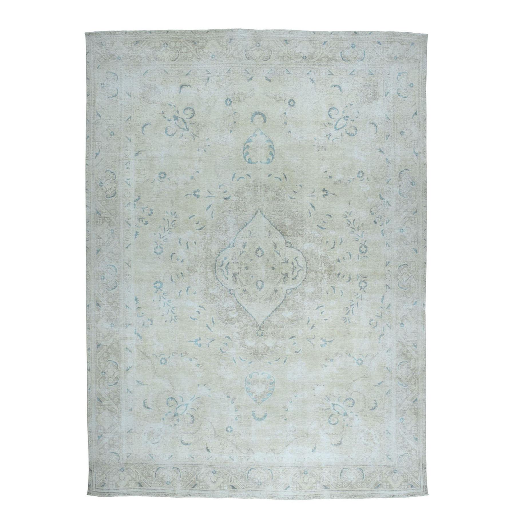 """9'5""""x12'3"""" Vintage White Wash Tabriz Worn Wool Hand-Knotted Oriental Rug"""