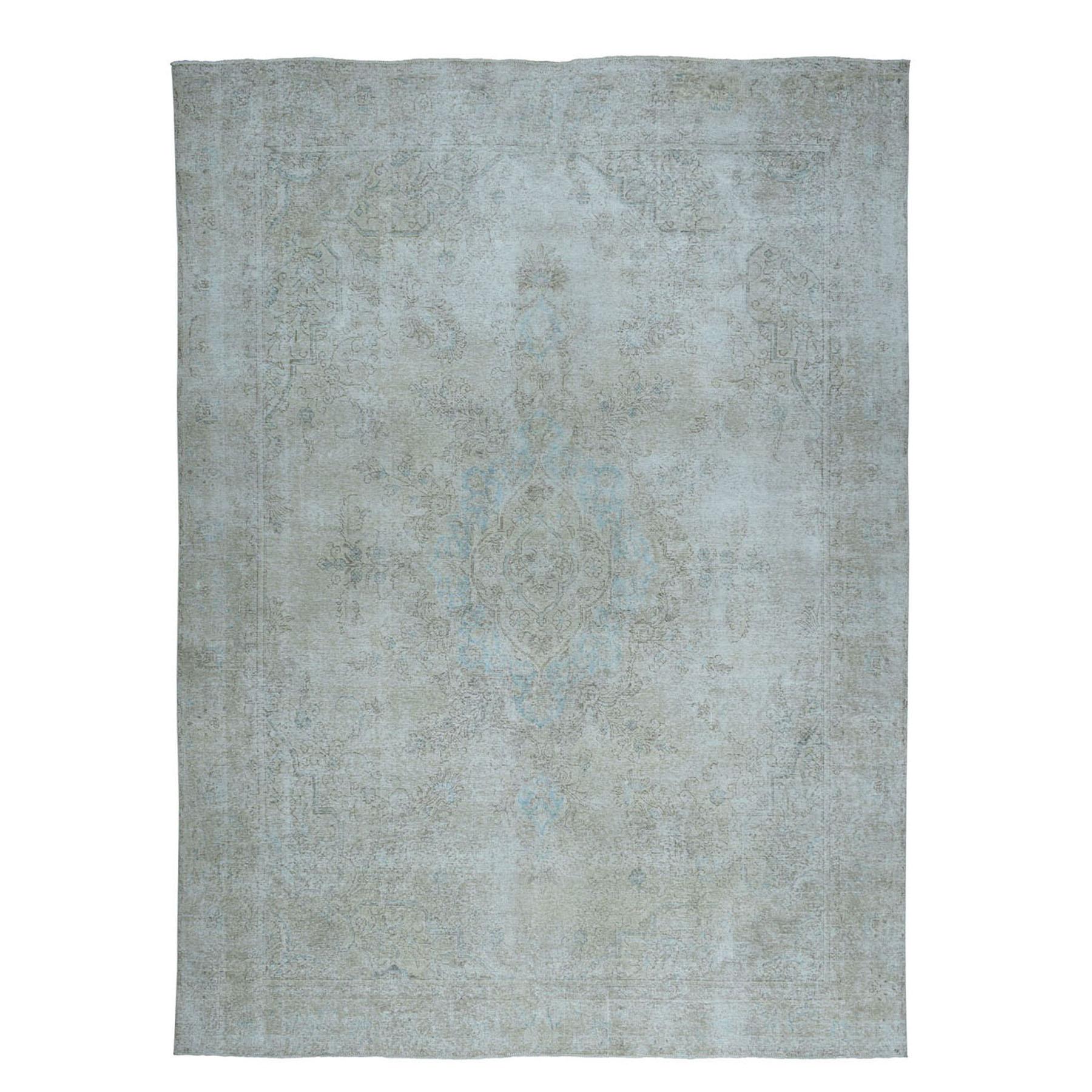 """8'10""""X12' Vintage White Wash Tabriz Worn Wool Hand-Knotted Oriental Rug moae0ecb"""