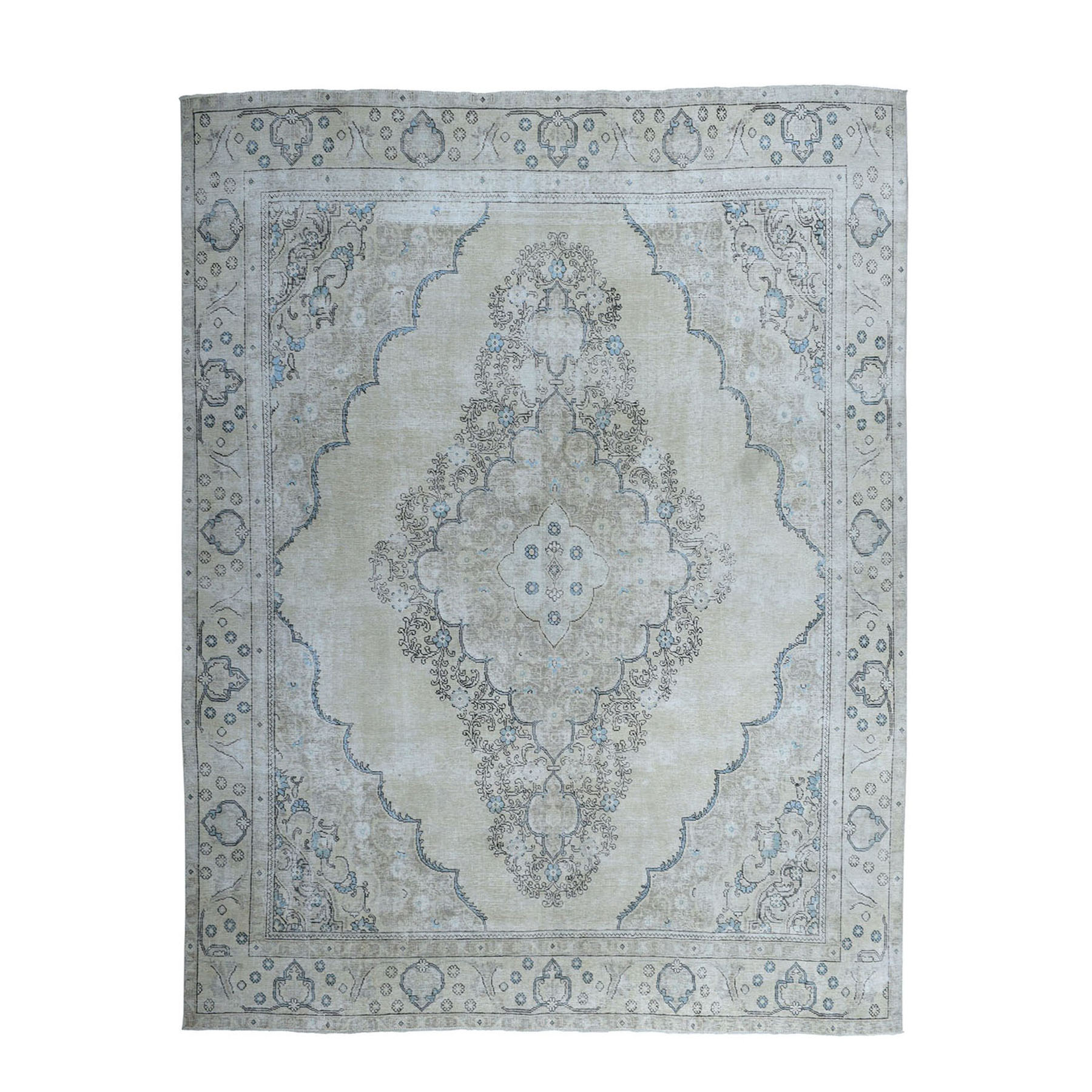"""9'5""""X10'8"""" Vintage White Wash Tabriz Worn Wool Hand-Knotted Oriental Rug moae0ecc"""