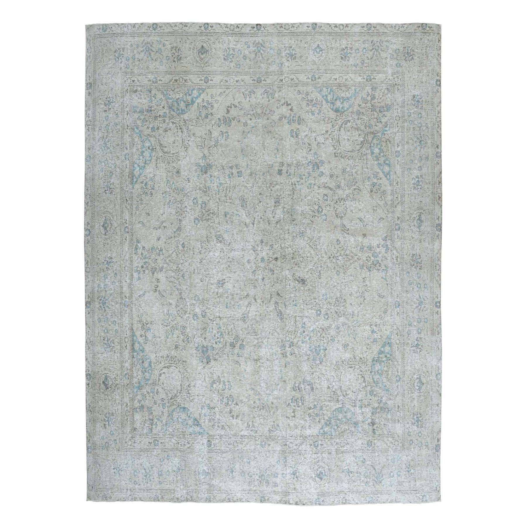"9'10""X10' Vintage White Wash Tabriz Worn Wool Square Hand-Knotted Oriental Rug moae0ece"