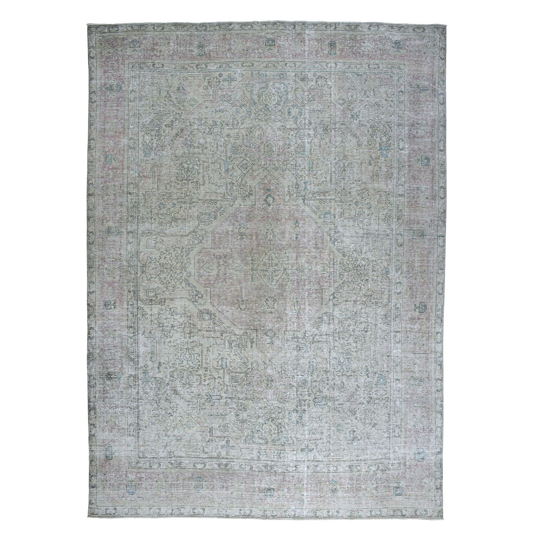 """9'8""""X12'2"""" Vintage White Wash Tabriz Worn Wool Hand-Knotted Oriental Rug moae0ec7"""