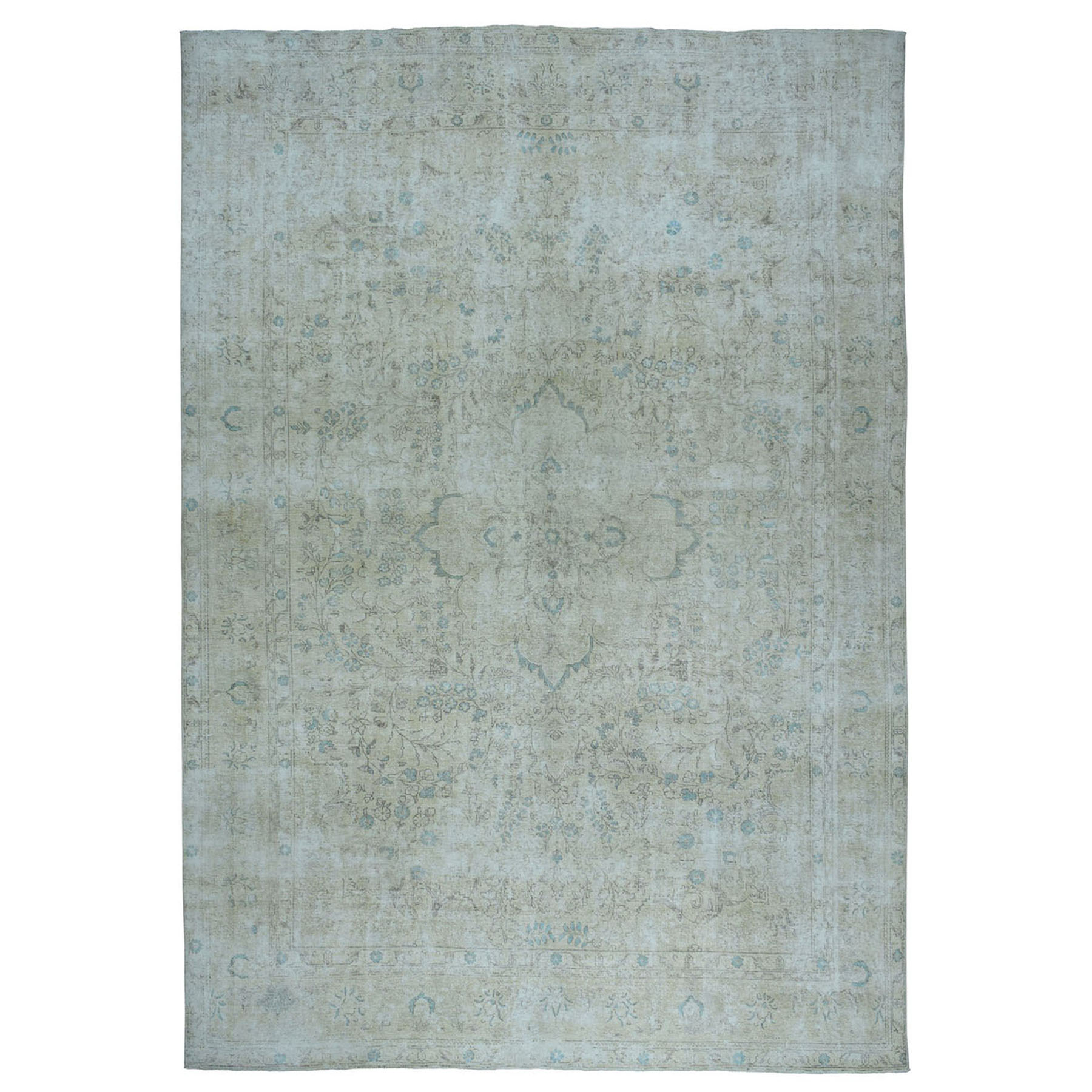 """9'4""""x12'9"""" Vintage White Wash Tabriz Worn Wool Hand-Knotted Oriental Rug 50538"""