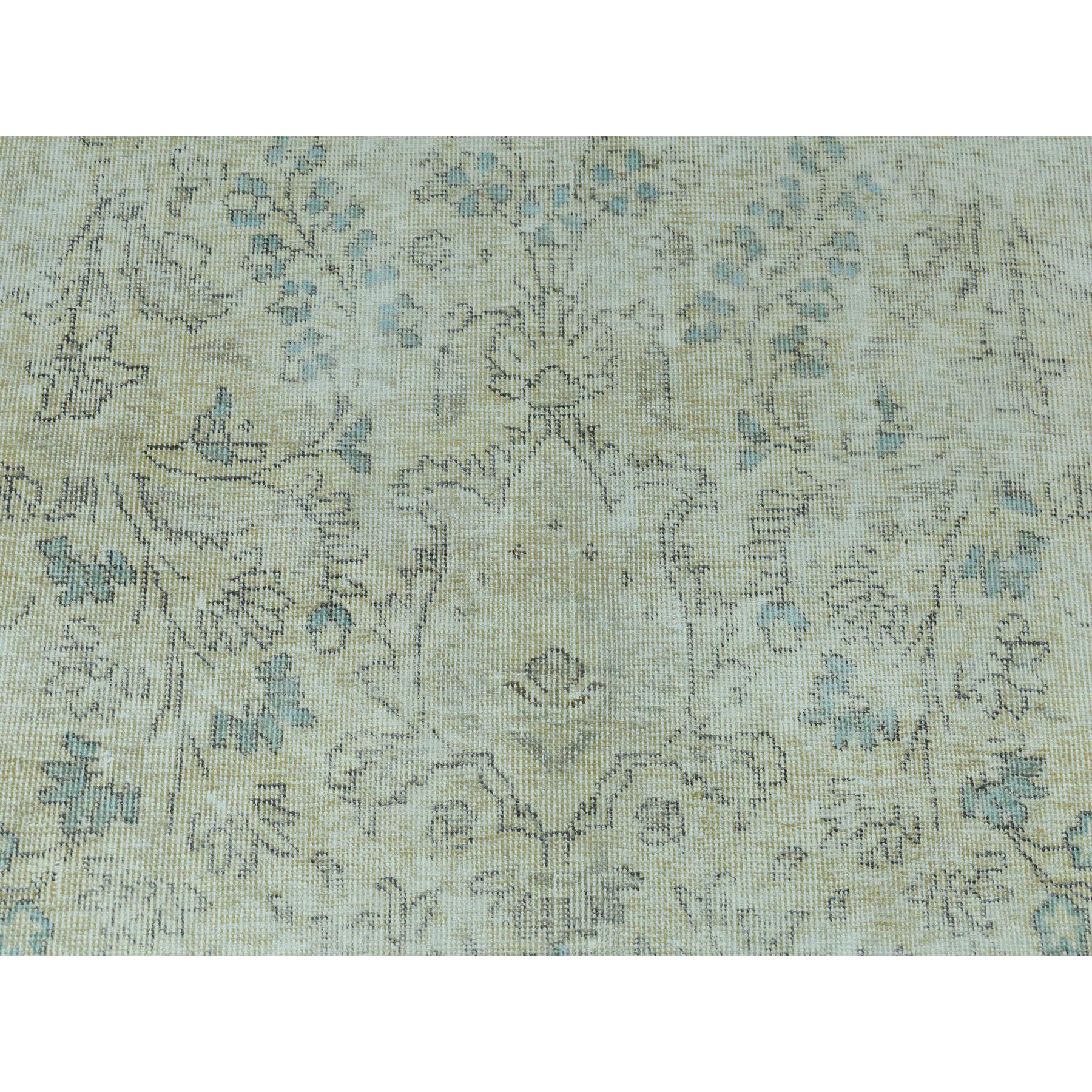 9-4 x12-9  Vintage White Wash Tabriz Worn Wool Hand-Knotted Oriental Rug