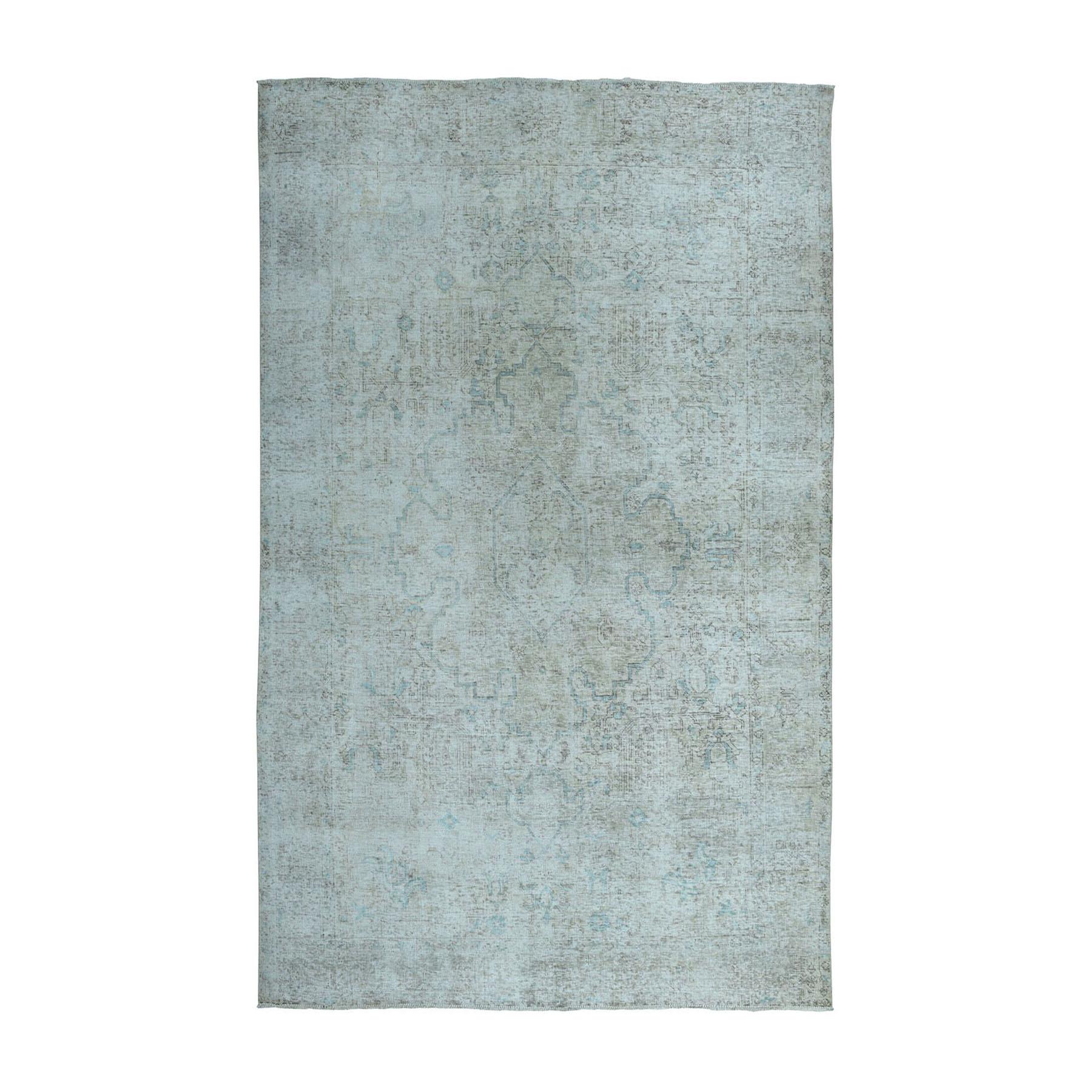 """6'1""""x9' Vintage White Wash Tabriz Worn Wool Hand-Knotted Oriental Rug"""