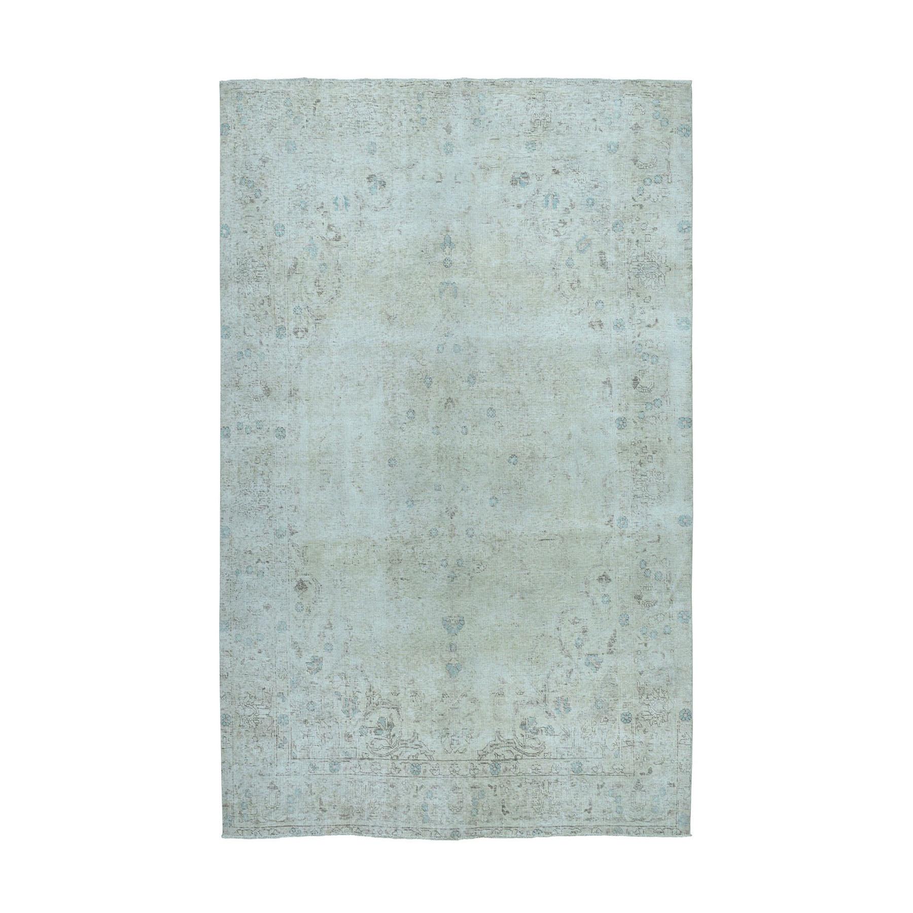 "6'5""X9'4"" Vintage White Wash Tabriz Worn Wool Hand-Knotted Oriental Rug moae0ed0"