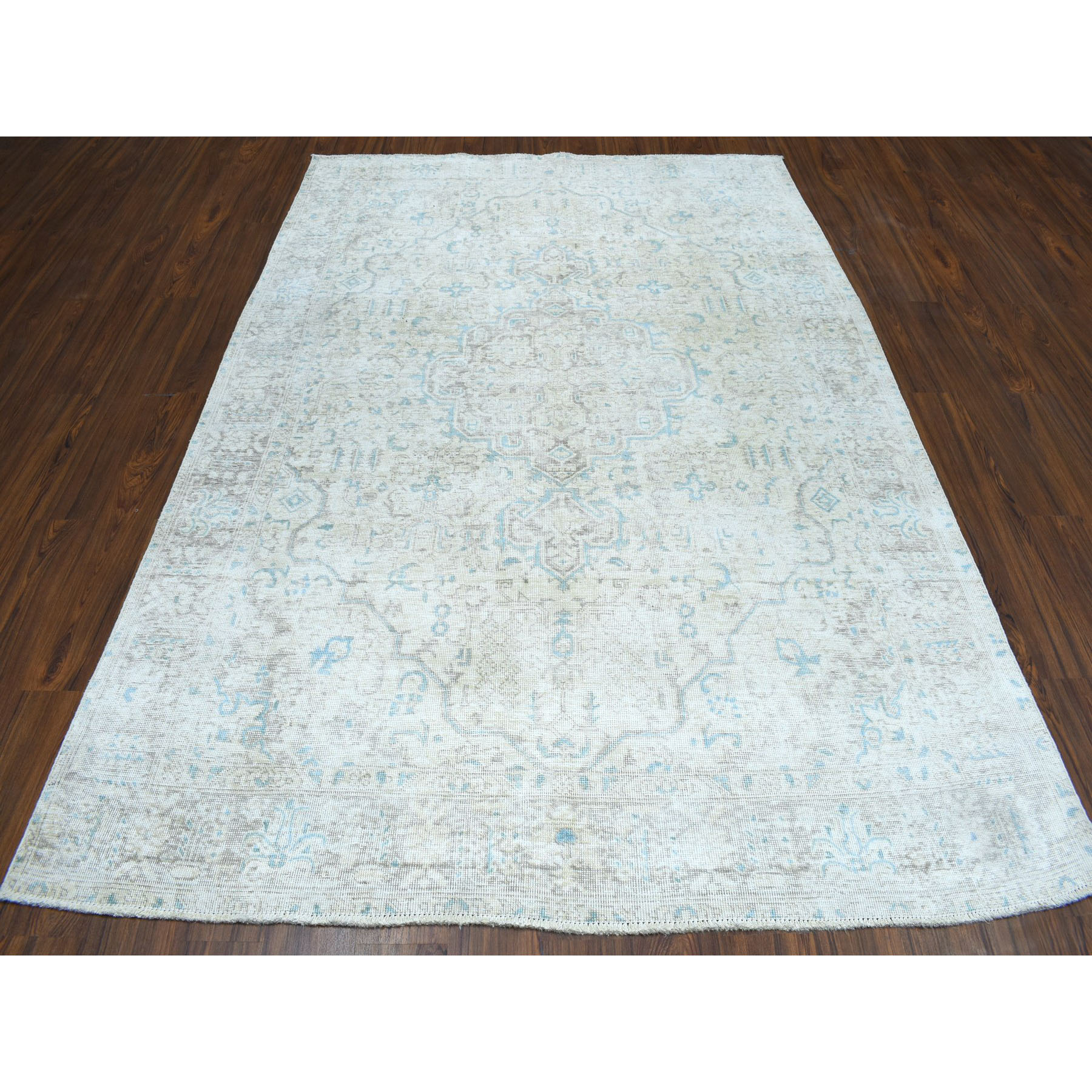 6-4 x9- Vintage White Wash Tabriz Worn Wool Hand-Knotted Oriental Rug