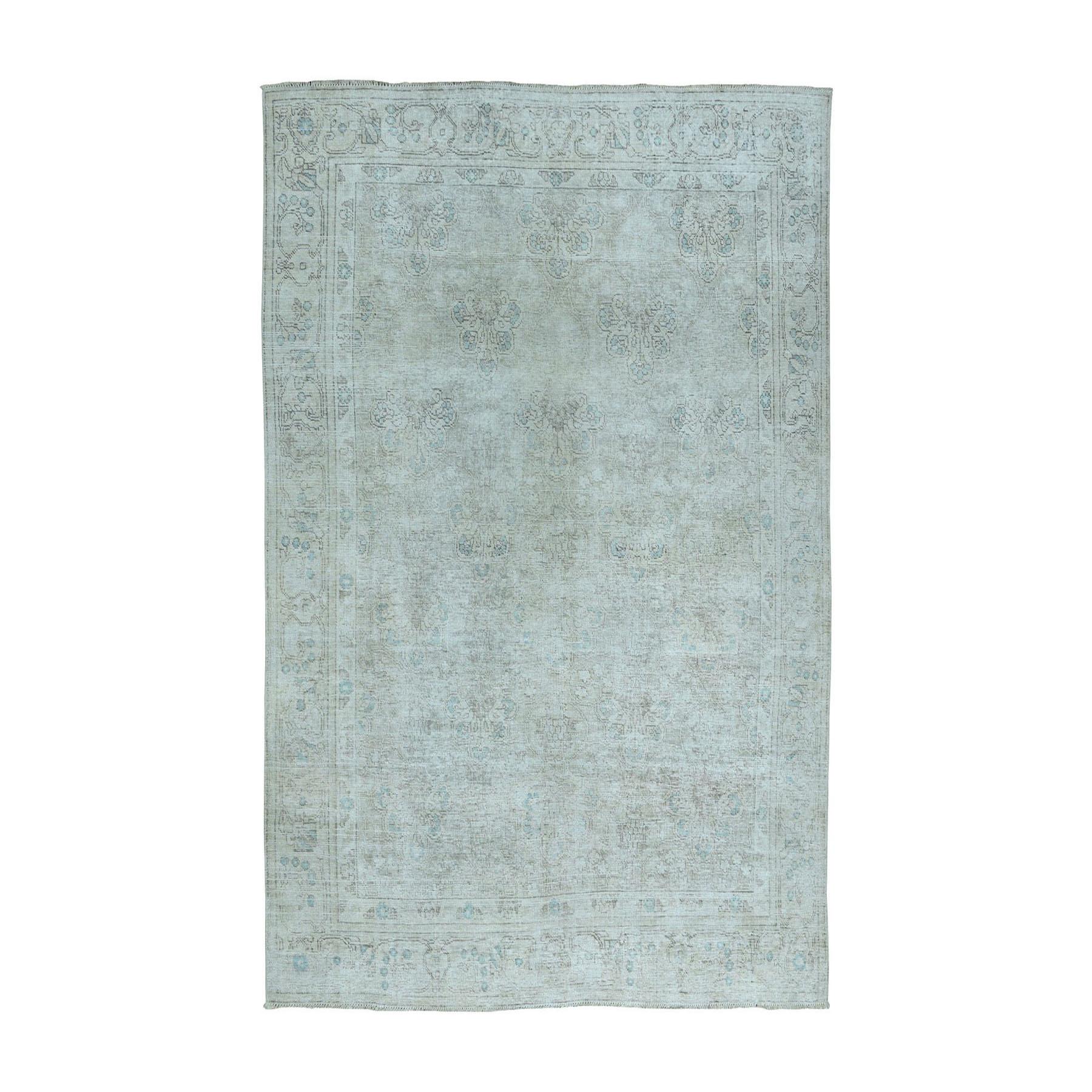 """6'5""""x9'1"""" Vintage White Wash Tabriz Worn Wool Hand-Knotted Oriental Rug"""
