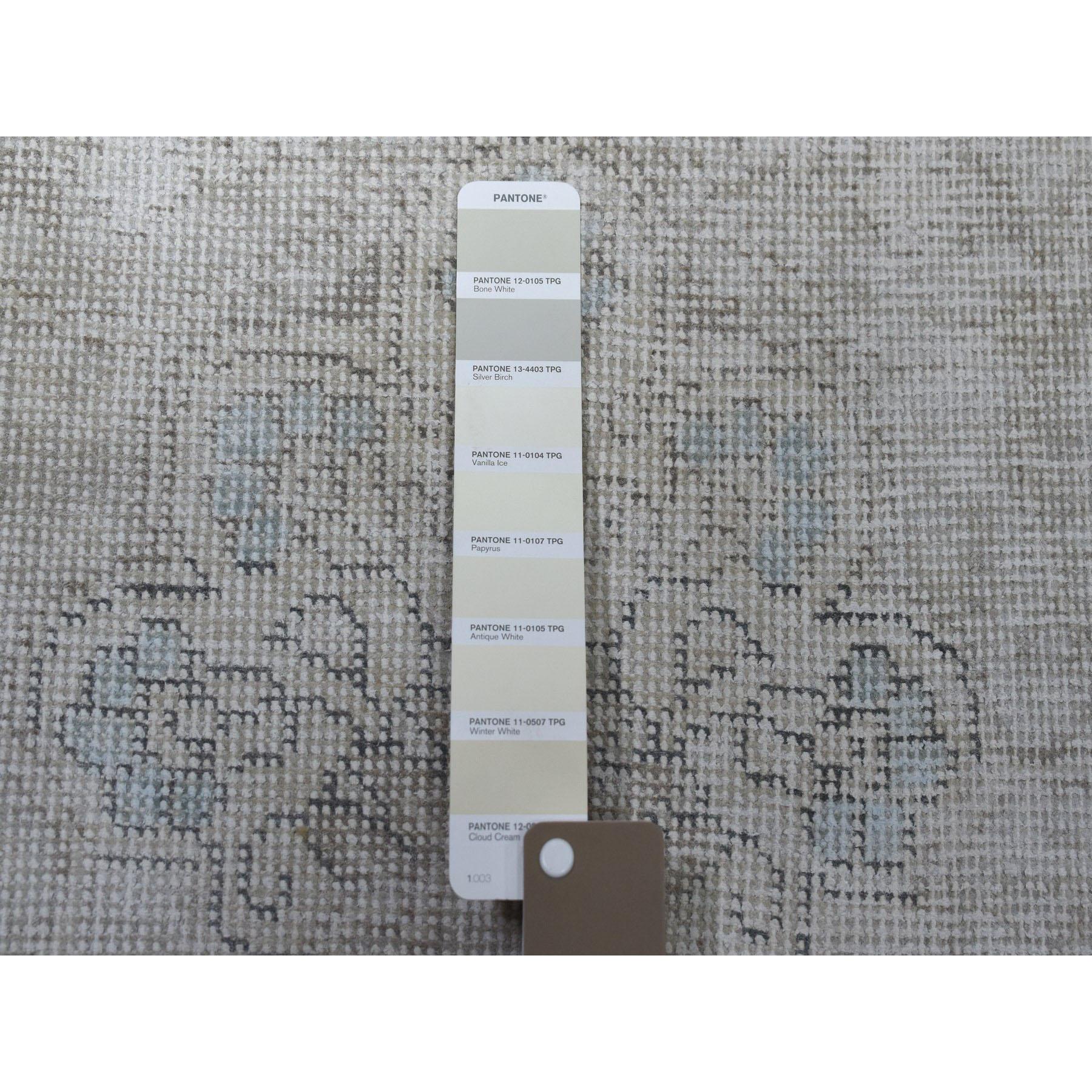 6-5 x9-1  Vintage White Wash Tabriz Worn Wool Hand-Knotted Oriental Rug