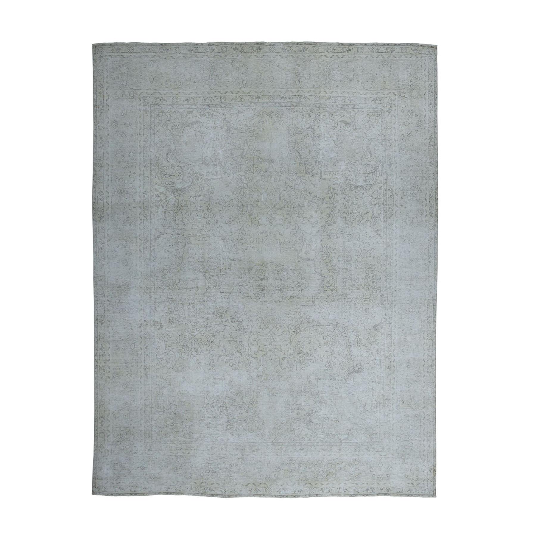 """7'7""""X10'7"""" Vintage White Wash Tabriz Worn Wool Hand-Knotted Oriental Rug moae0edd"""