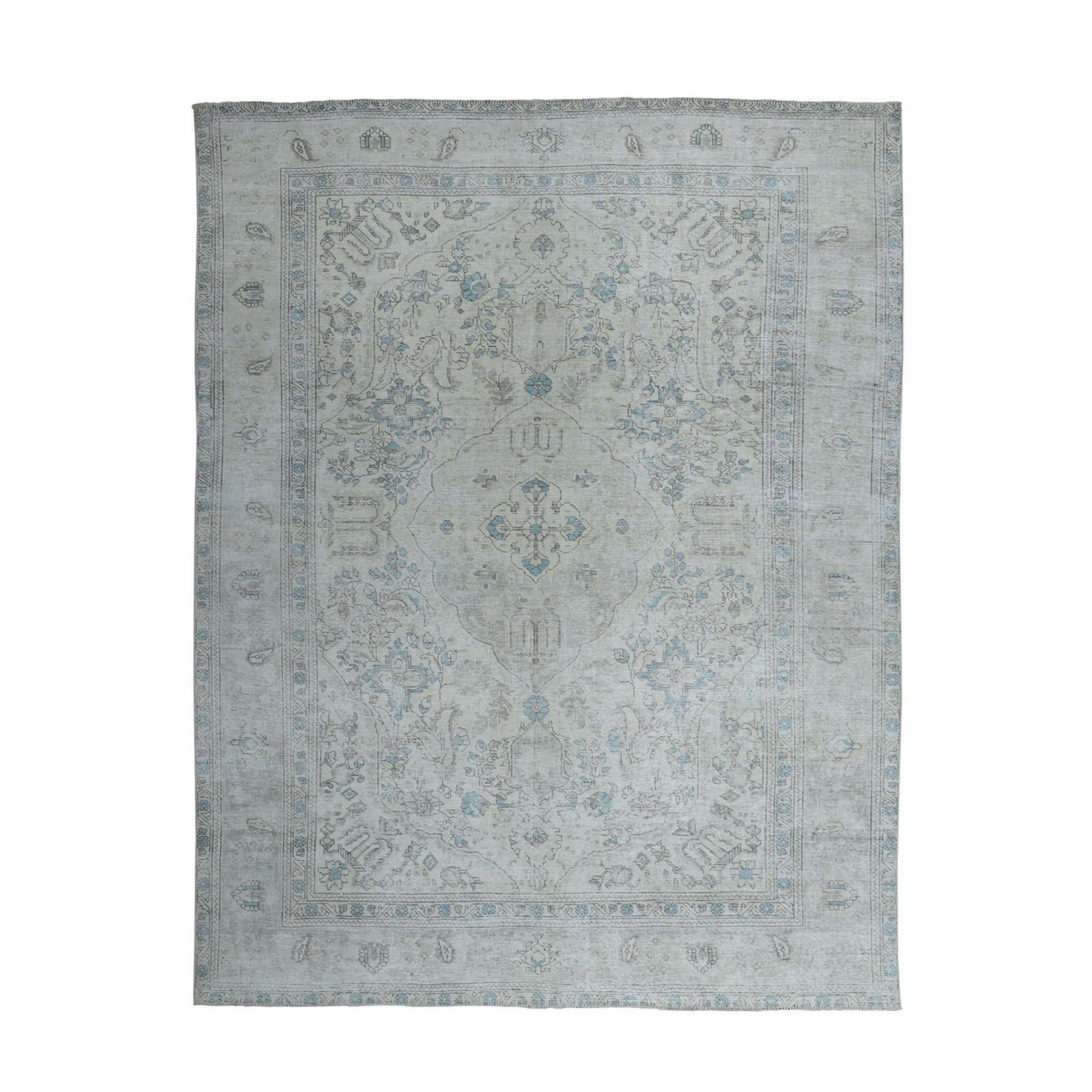 """7'7""""X10'2"""" Vintage White Wash Tabriz Worn Wool Hand-Knotted Oriental Rug moae0ede"""