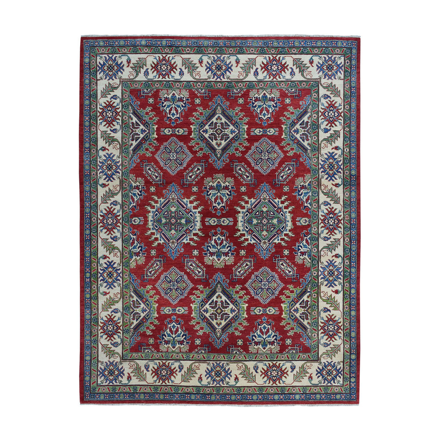 "8'x10"" Red Kazak Geometric Design Pure Wool Hand-Knotted Oriental Rug"