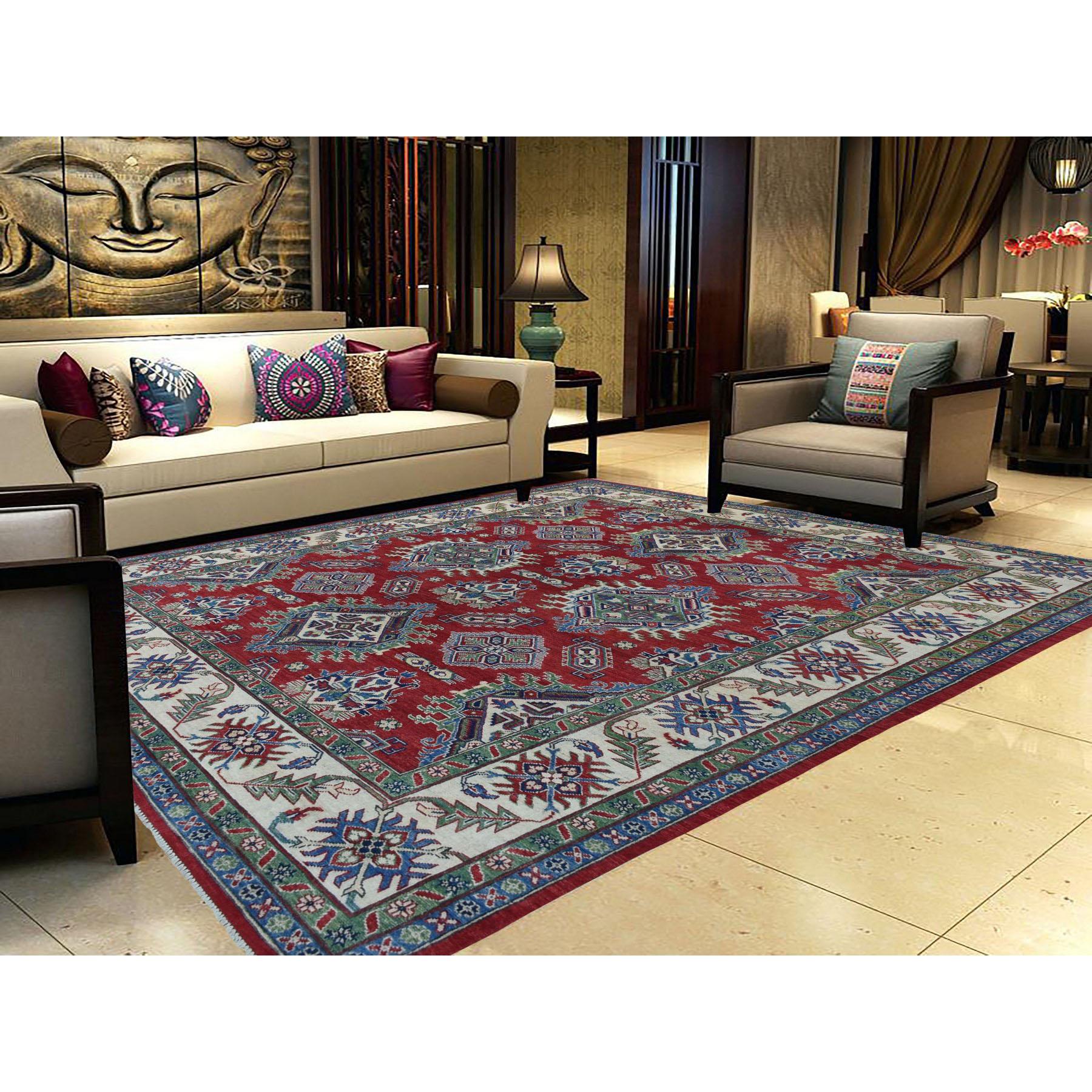 "8'x10"" Red Kazak Geometric Design Pure Wool Hand-Knotted Oriental Rug"