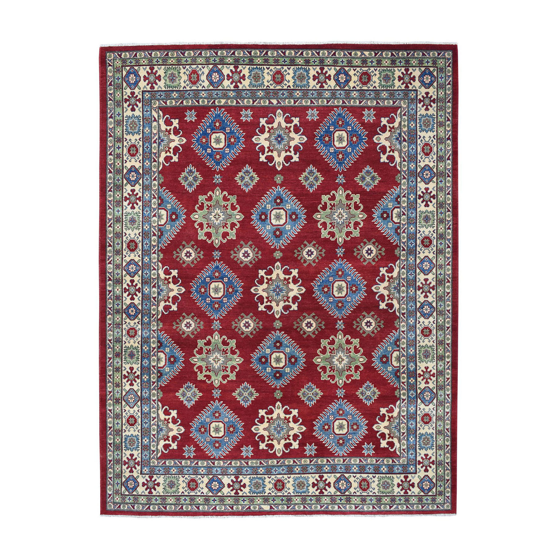 "8'x10'1"" Red Kazak Geometric Design Pure Wool Hand-Knotted Oriental Rug 50547"