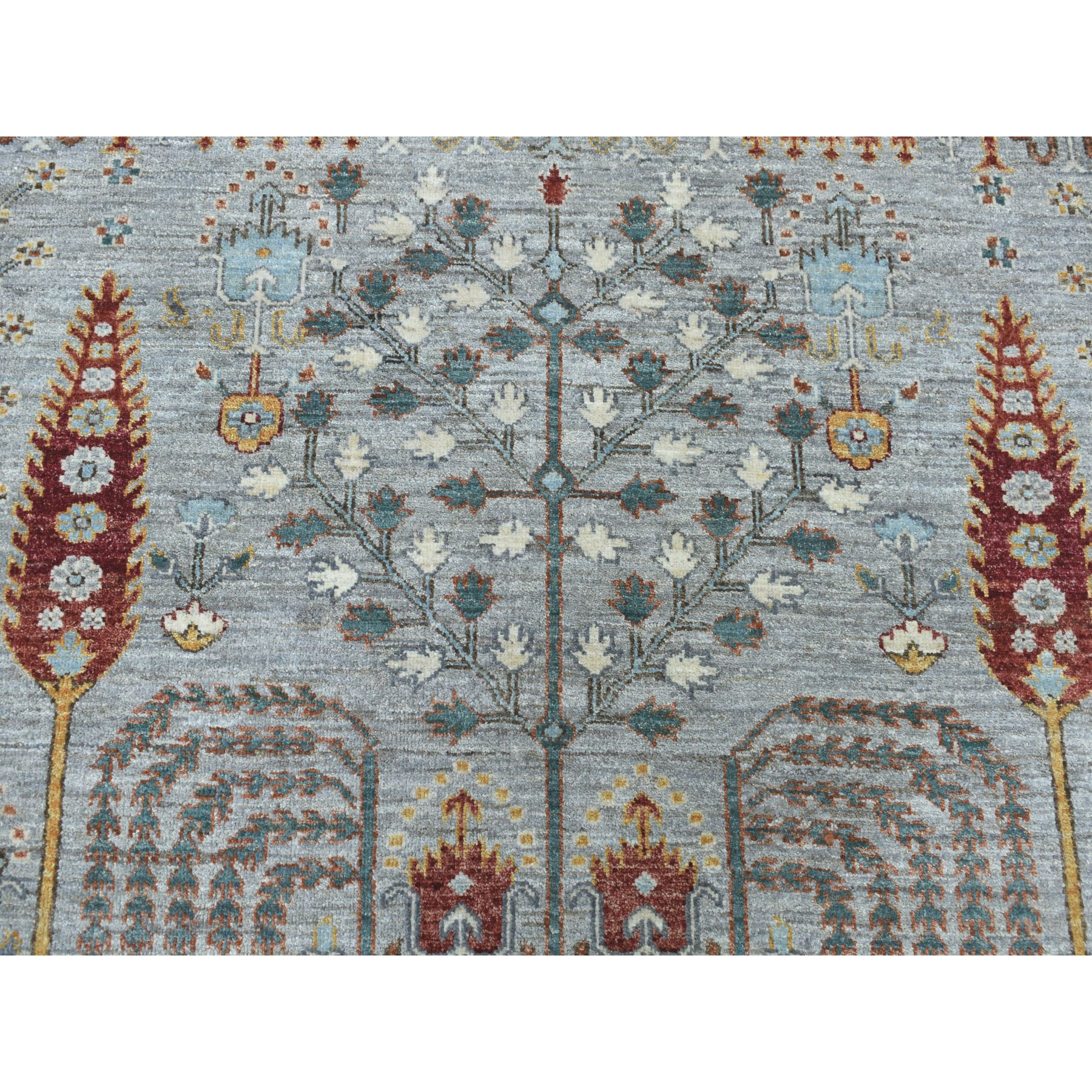 10-2 x14- Gray Peshawar Willow And Cypress Tree Design Hand-Knotted Oriental Rug
