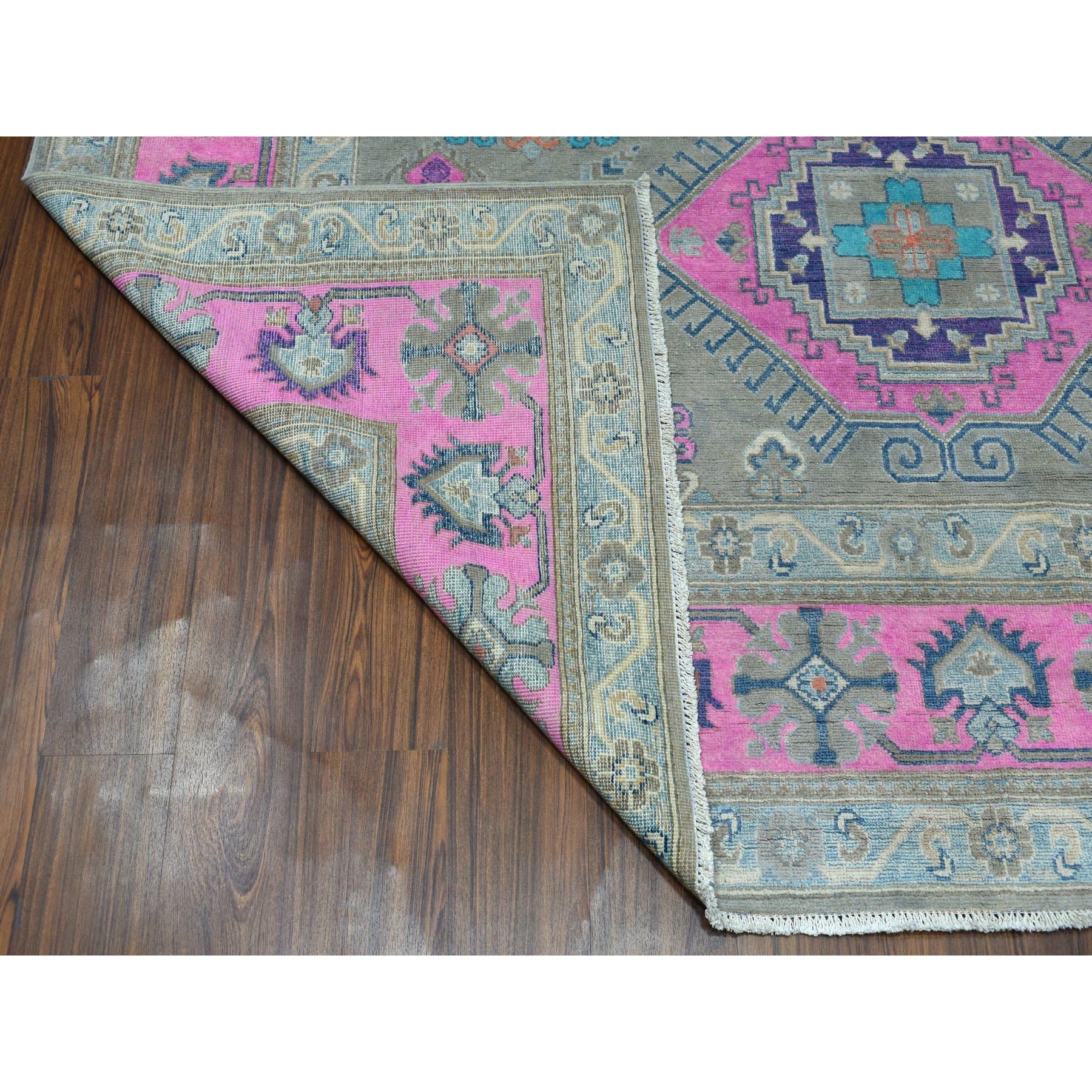 "8'x9'9"" Colorful Fusion Kazak Geometric Design Pure Wool Hand-Knotted Oriental Rug"