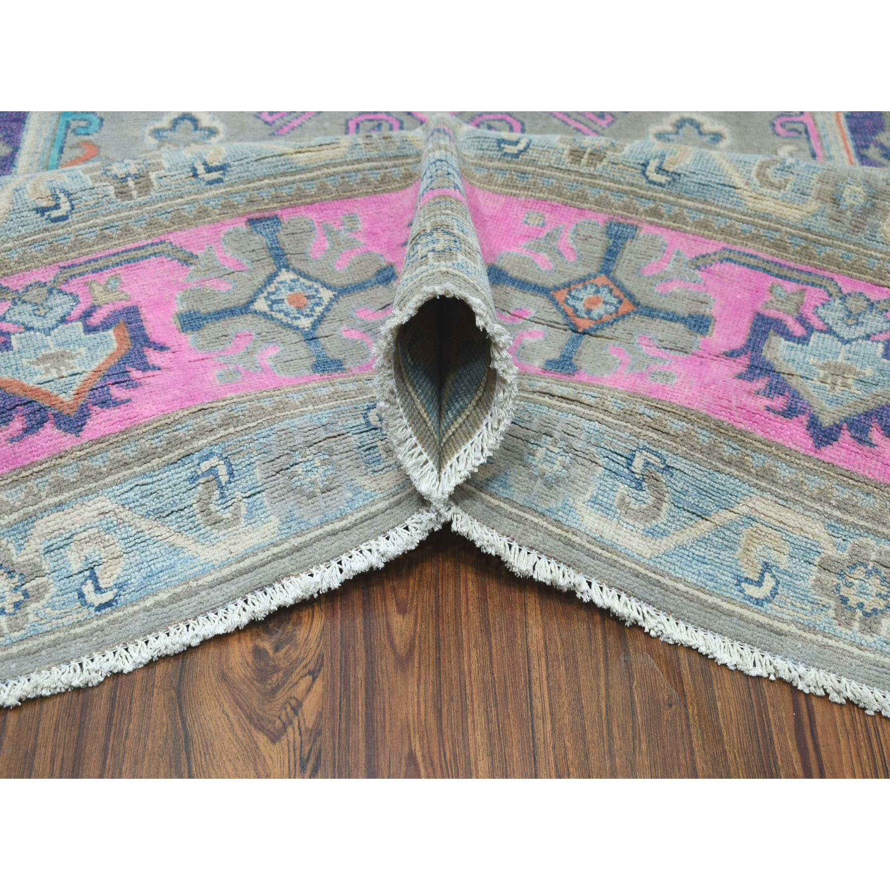8-x9-9  Colorful Fusion Kazak Geometric Design Pure Wool Hand-Knotted Oriental Rug