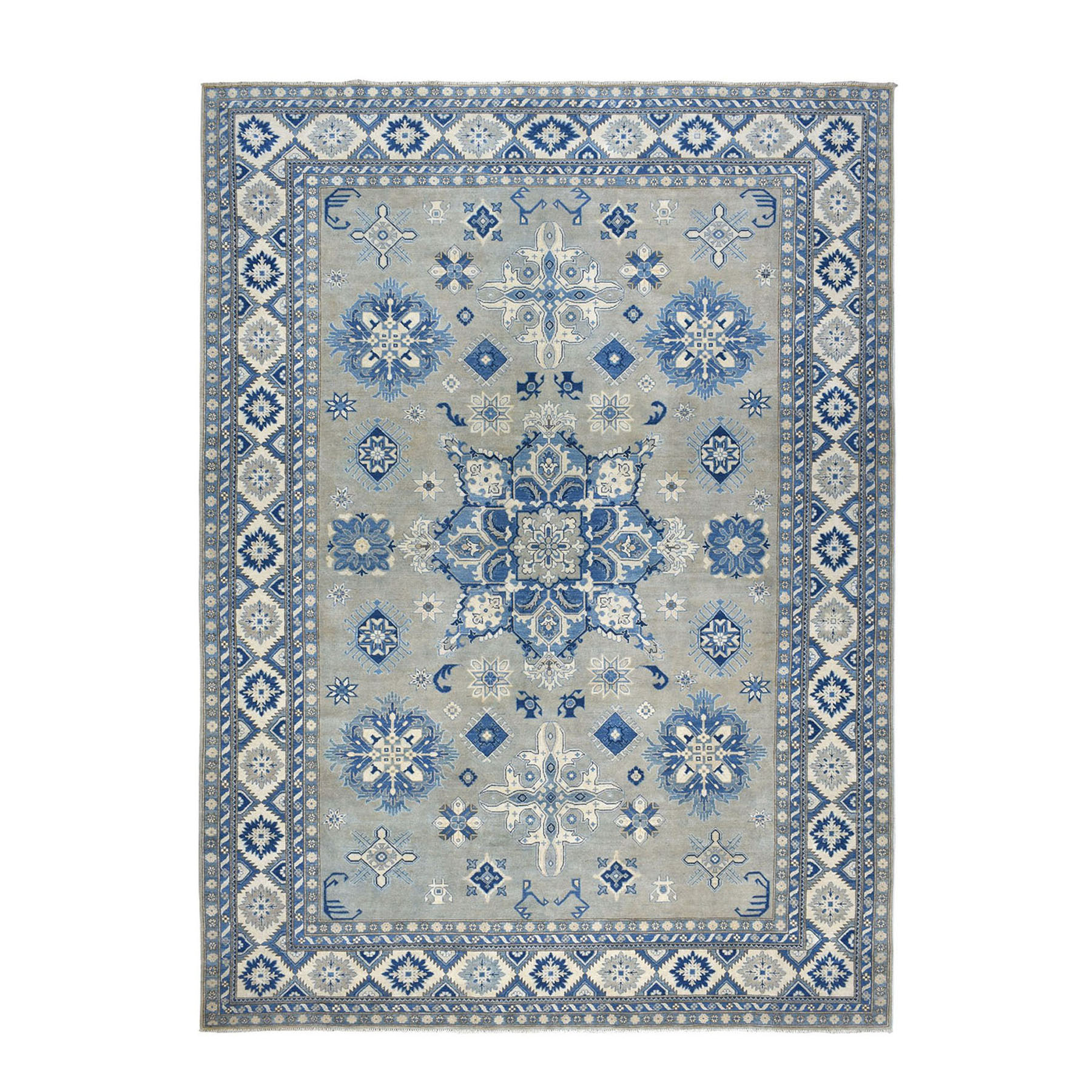 "10'X13'9"" Gray Vintage Look Kazak Geometric Design Pure Wool Hand-Knotted Oriental Rug moae0ee7"