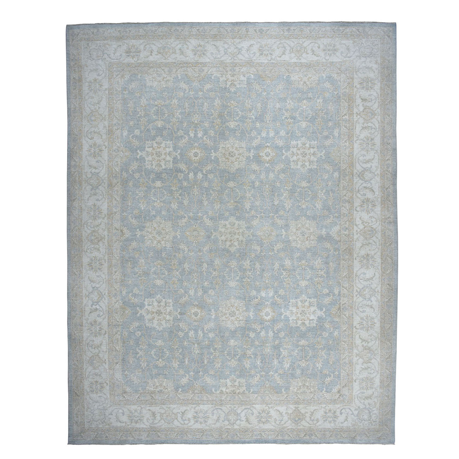 "12'X14'7"" Oversize Gray White Wash Peshawar Pure Wool Hand-Knotted Oriental Rug moae0e67"