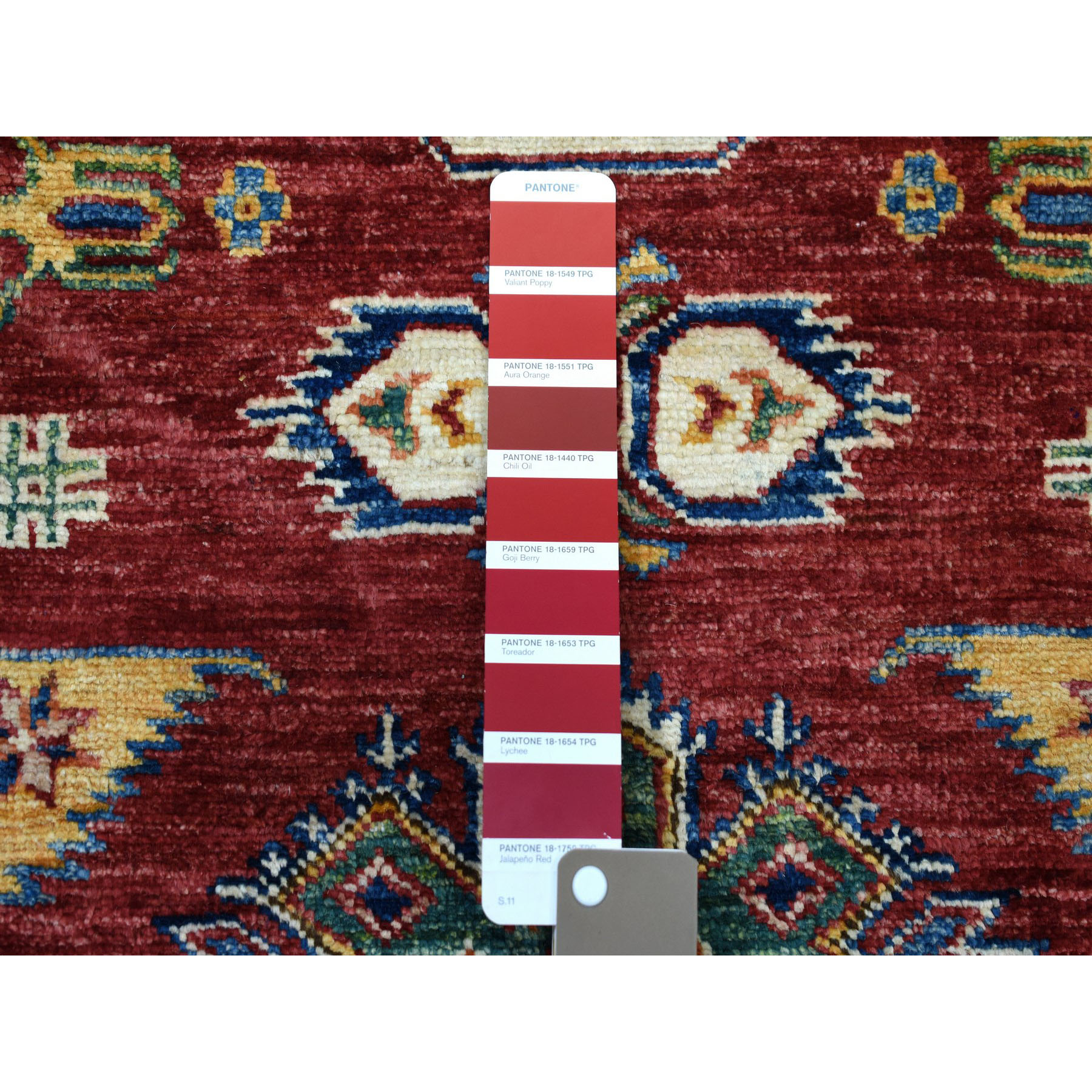 "2'8""x19'8"" Super Kazak Pure Wool Geometric Design XL Runner Hand-Knotted Oriental Rug"