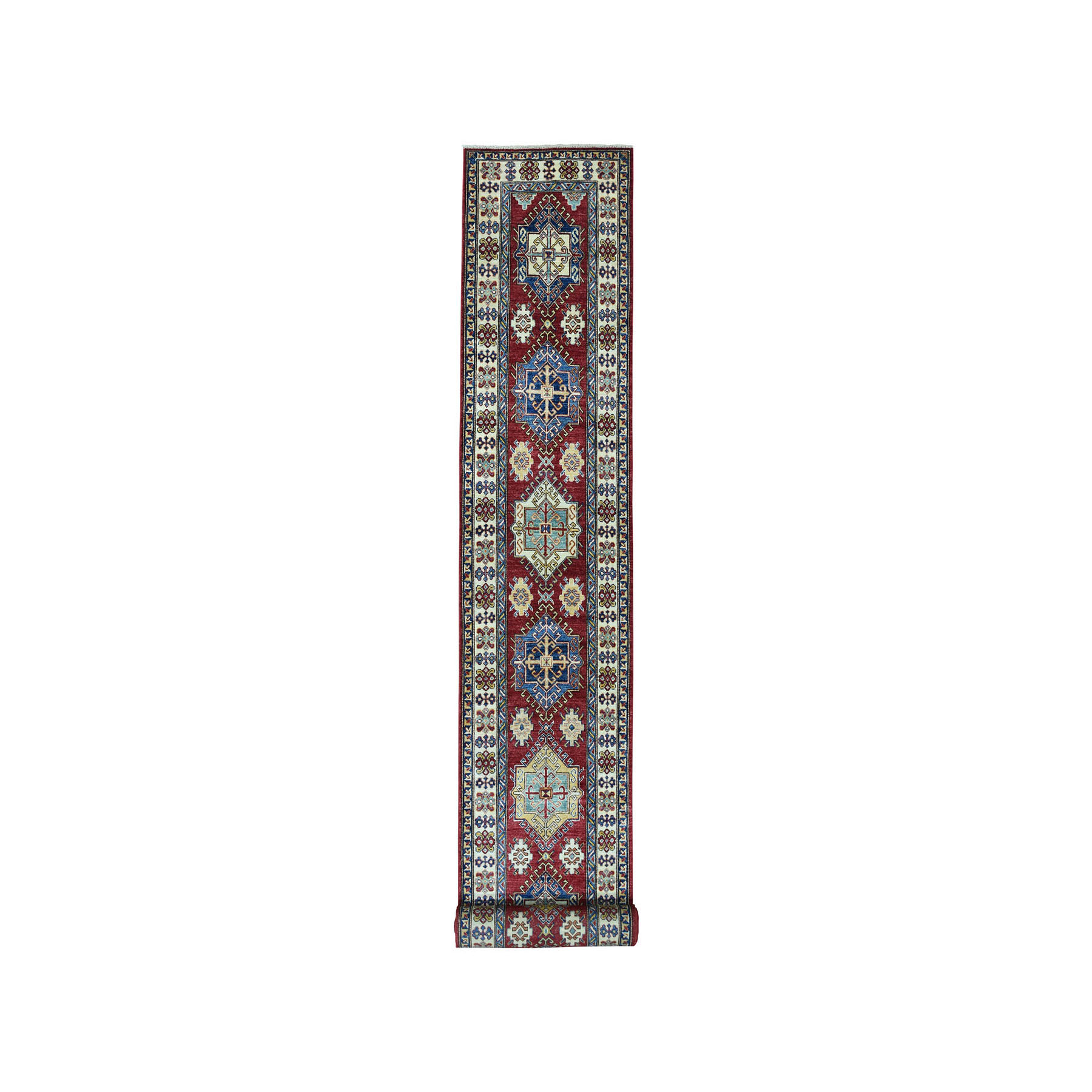 "2'9""x20'3"" Red Super Kazak Geometric Design XL Runner Pure Wool Hand-Knotted Oriental Rug"