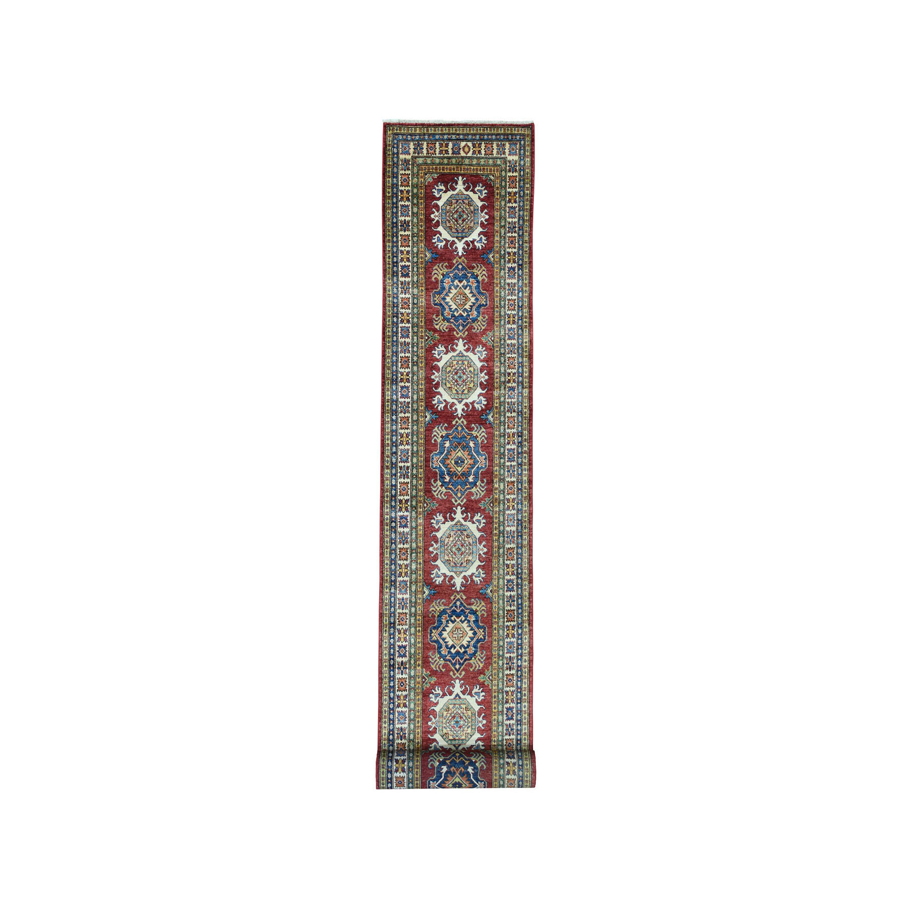 "2'8""X19' Red Super Kazak Geometric Design Xl Runner Pure Wool Hand-Knotted Oriental Rug moae0e7a"