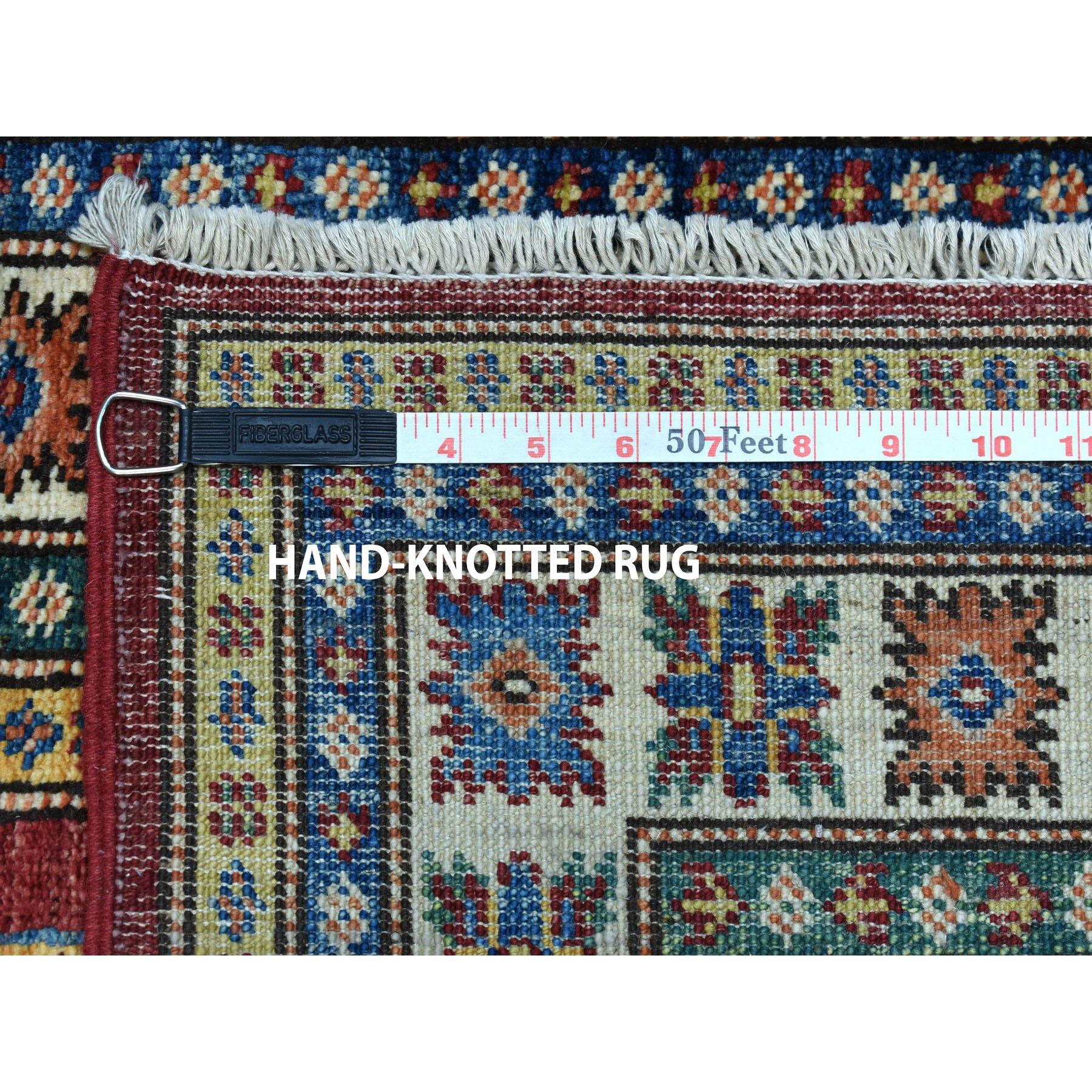 "2'8""x19' Red Super Kazak Geometric Design XL Runner Pure Wool Hand-Knotted Oriental Rug"