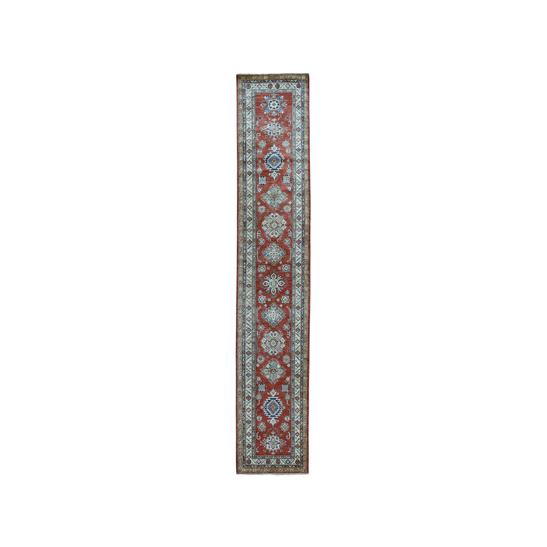 "2'9""X12'9"" Super Kazak Pure Wool Geometric Design Runner Hand-Knotted Oriental Rug moae0e7b"