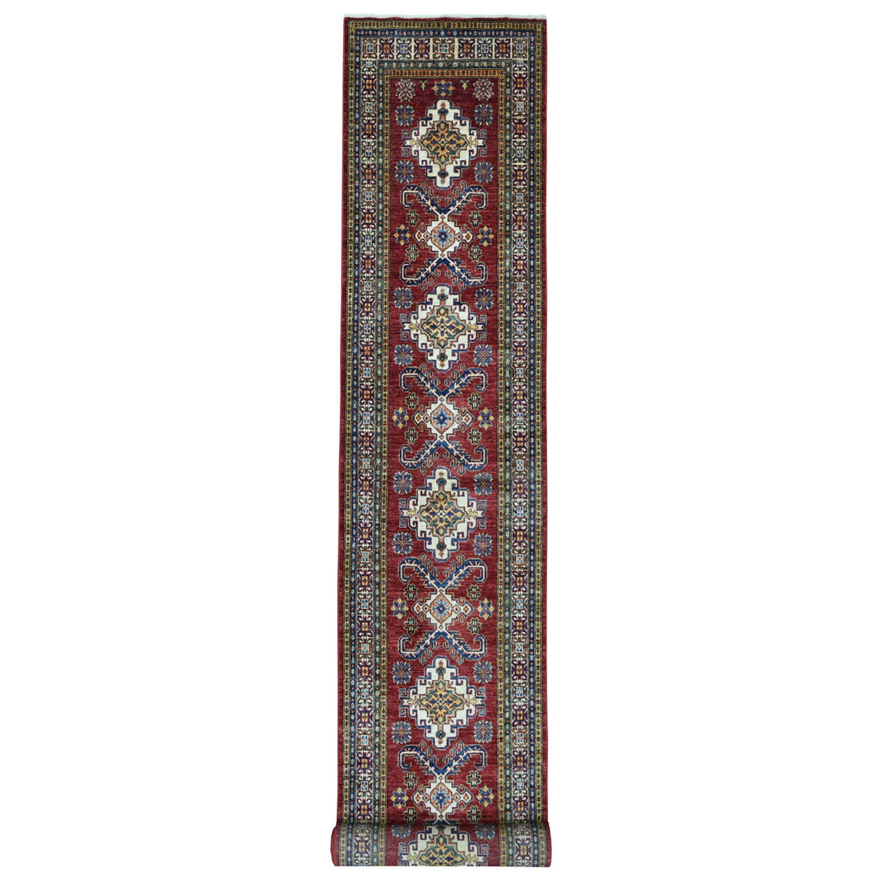 "3'2""x19'4"" Red Super Kazak Pure Wool Geometric Design XL Runner Hand-Knotted Oriental Rug"