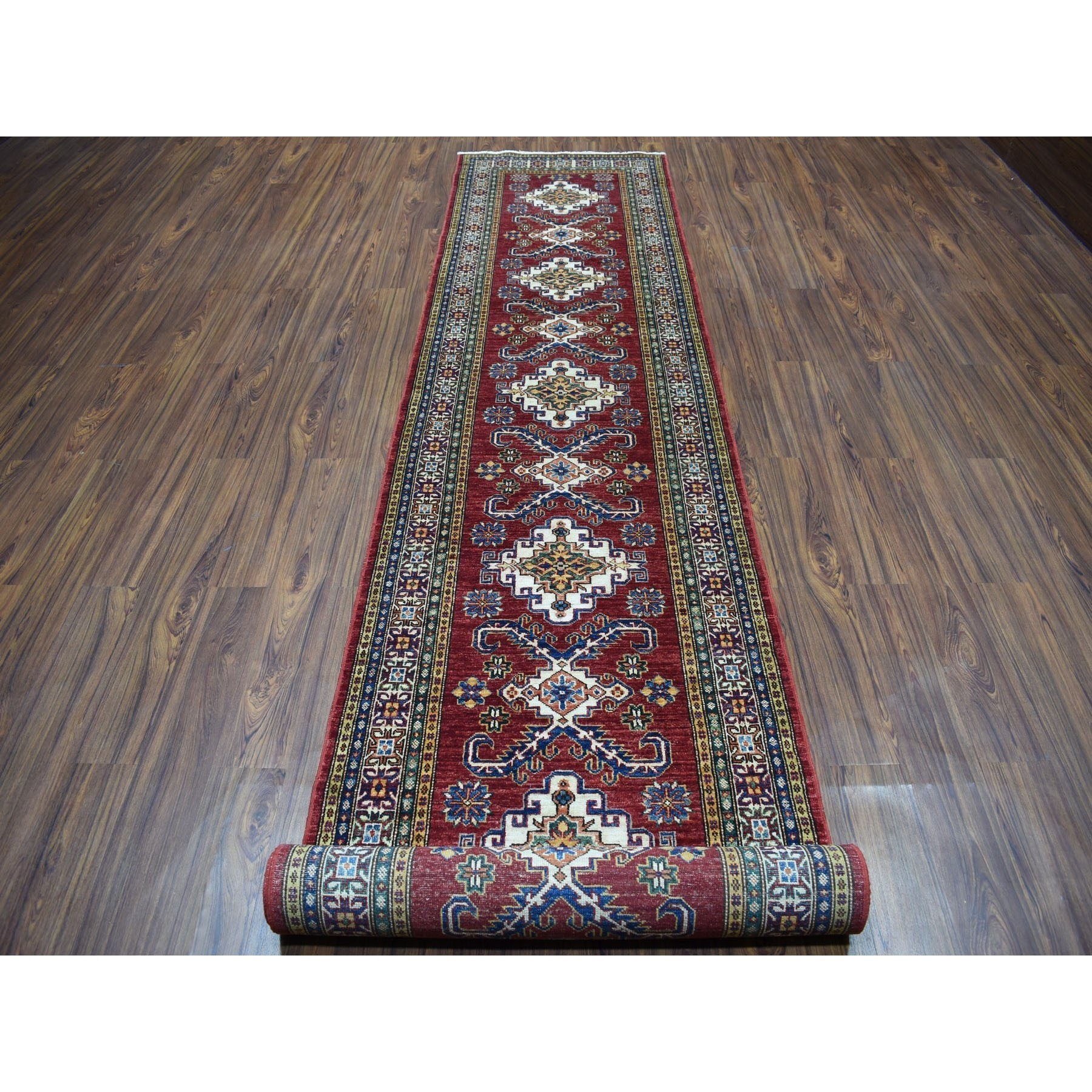 3-2 x19-4  Red Super Kazak Pure Wool Geometric Design XL Runner Hand-Knotted Oriental Rug