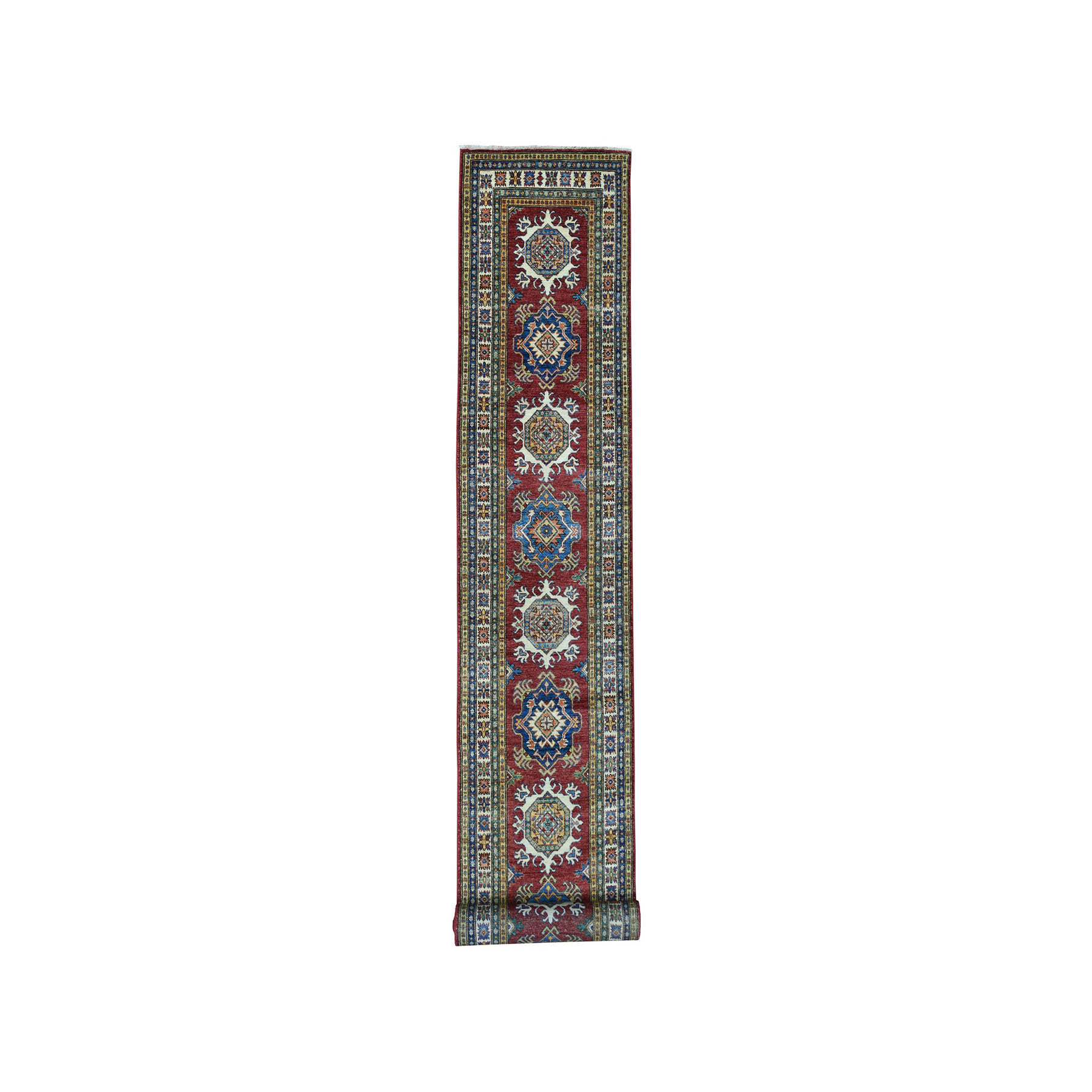 "2'8""X19'5"" Red Super Kazak Pure Wool Geometric Design Xl Runner Hand-Knotted Oriental Rug moae0e7e"
