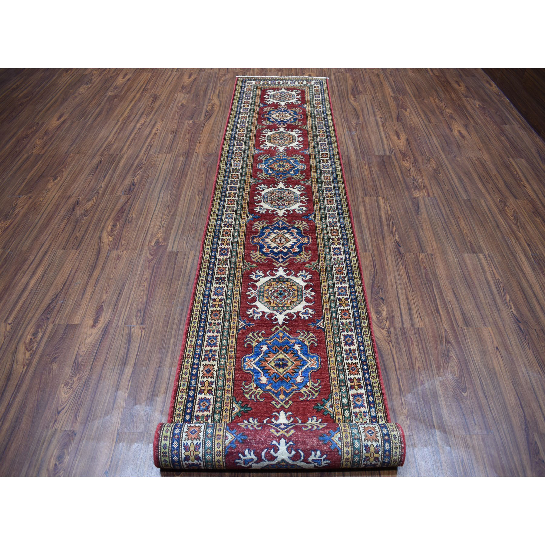 "2'8""x19'5"" Red Super Kazak Pure Wool Geometric Design XL Runner Hand-Knotted Oriental Rug"