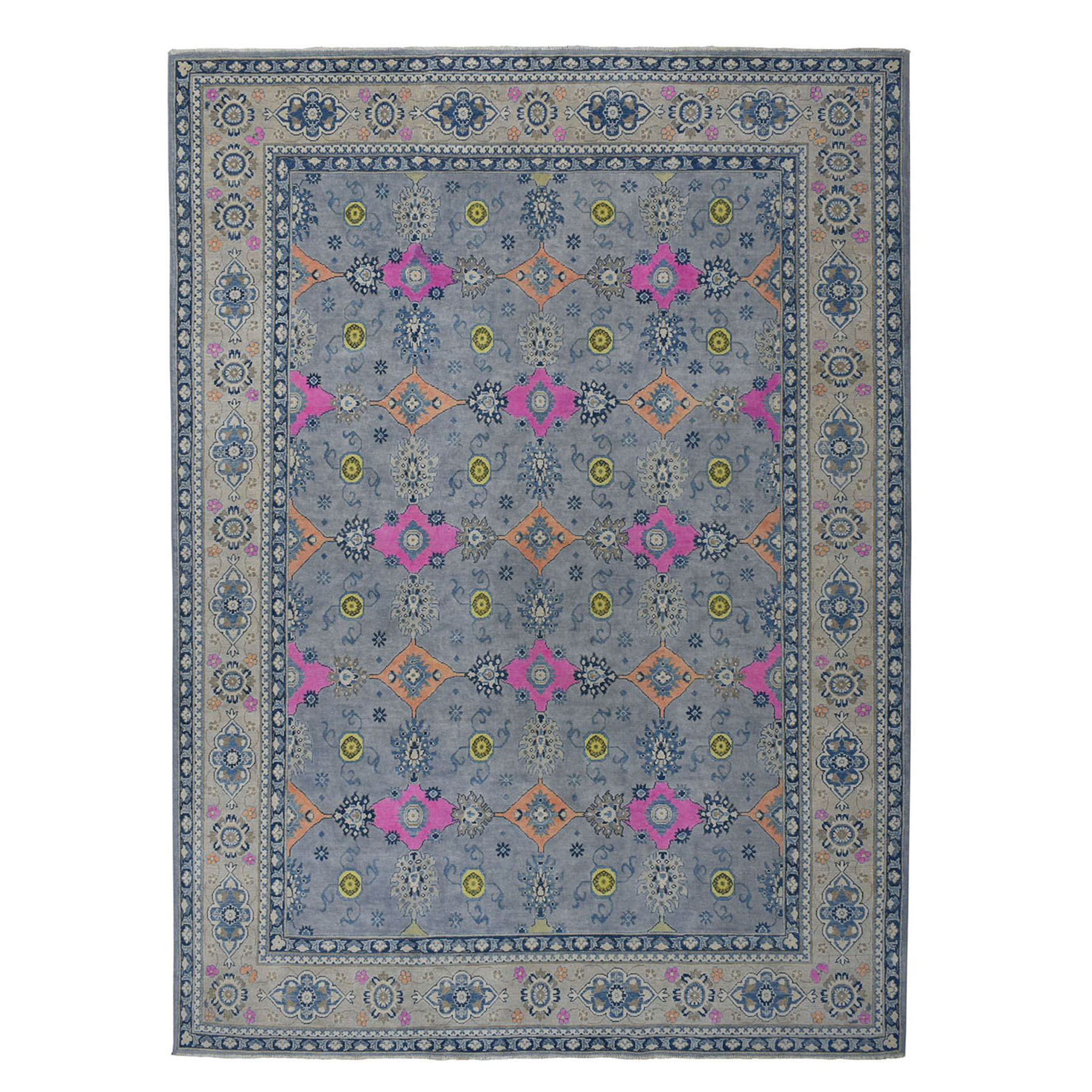 "8'10""x12'5"" Colorful Fusion Kazak Geometric Design Pure Wool Hand-Knotted Oriental Rug"