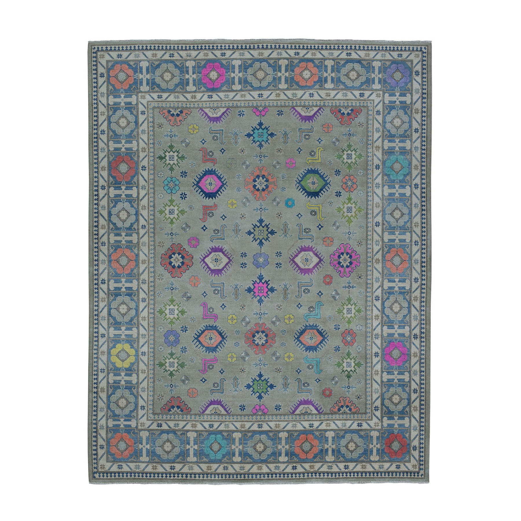 "8'1""x9'10"" Colorful Fusion Kazak Pure Wool Hand-Knotted Oriental Rug"