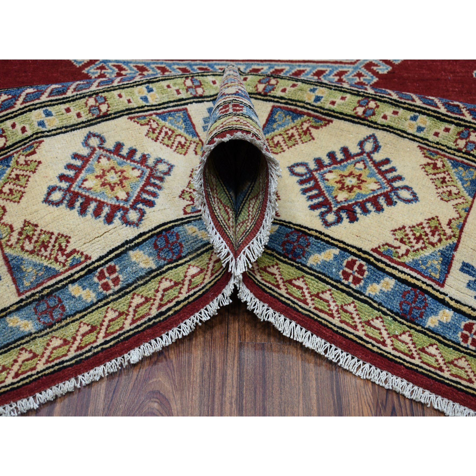 "8'2""x9'8"" Red Kazak Geometric Design Pure Wool Hand-Knotted Oriental Rug"