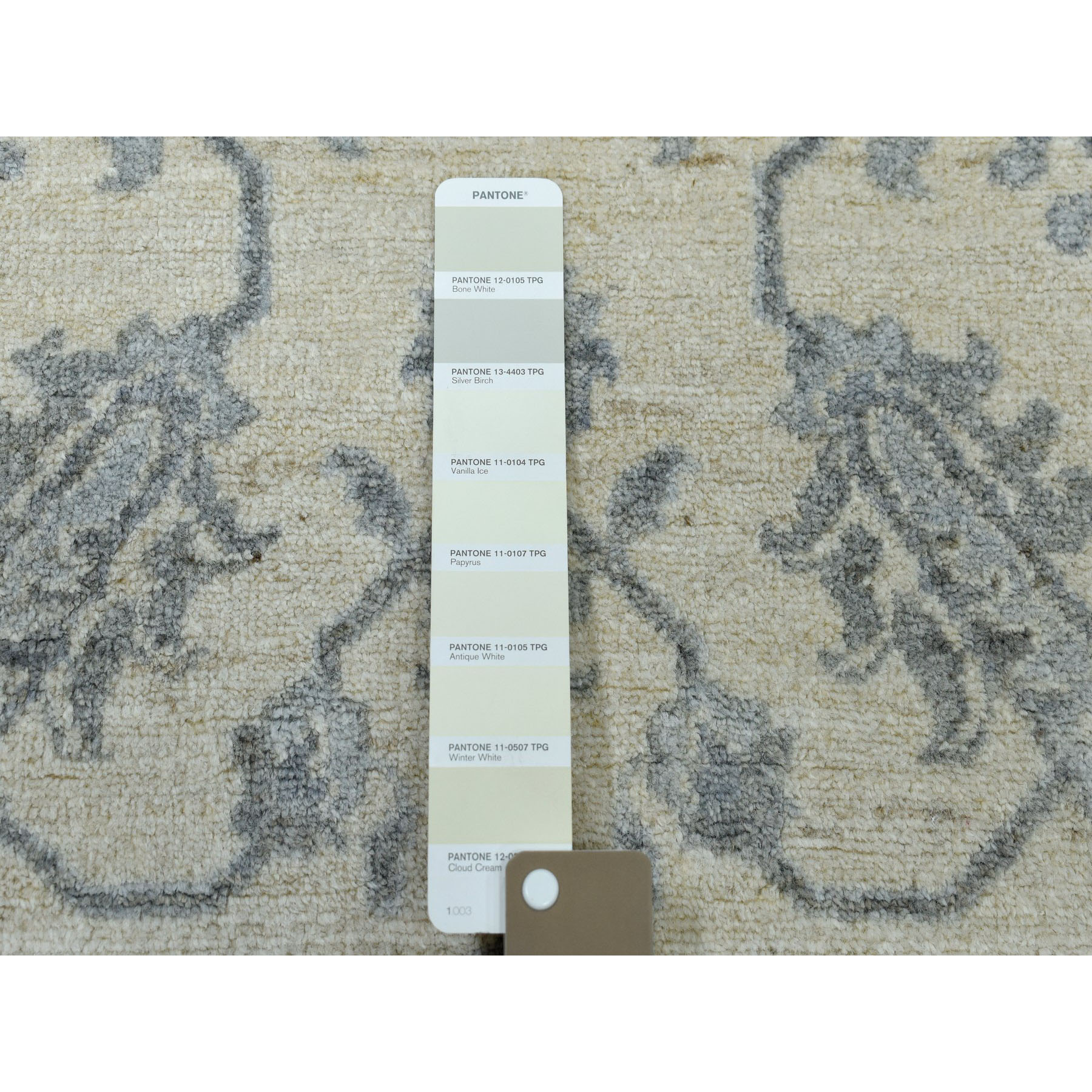 5-6 x8-2  Ivory White Wash Peshawar Pure Wool Hand-Knotted Oriental Rug